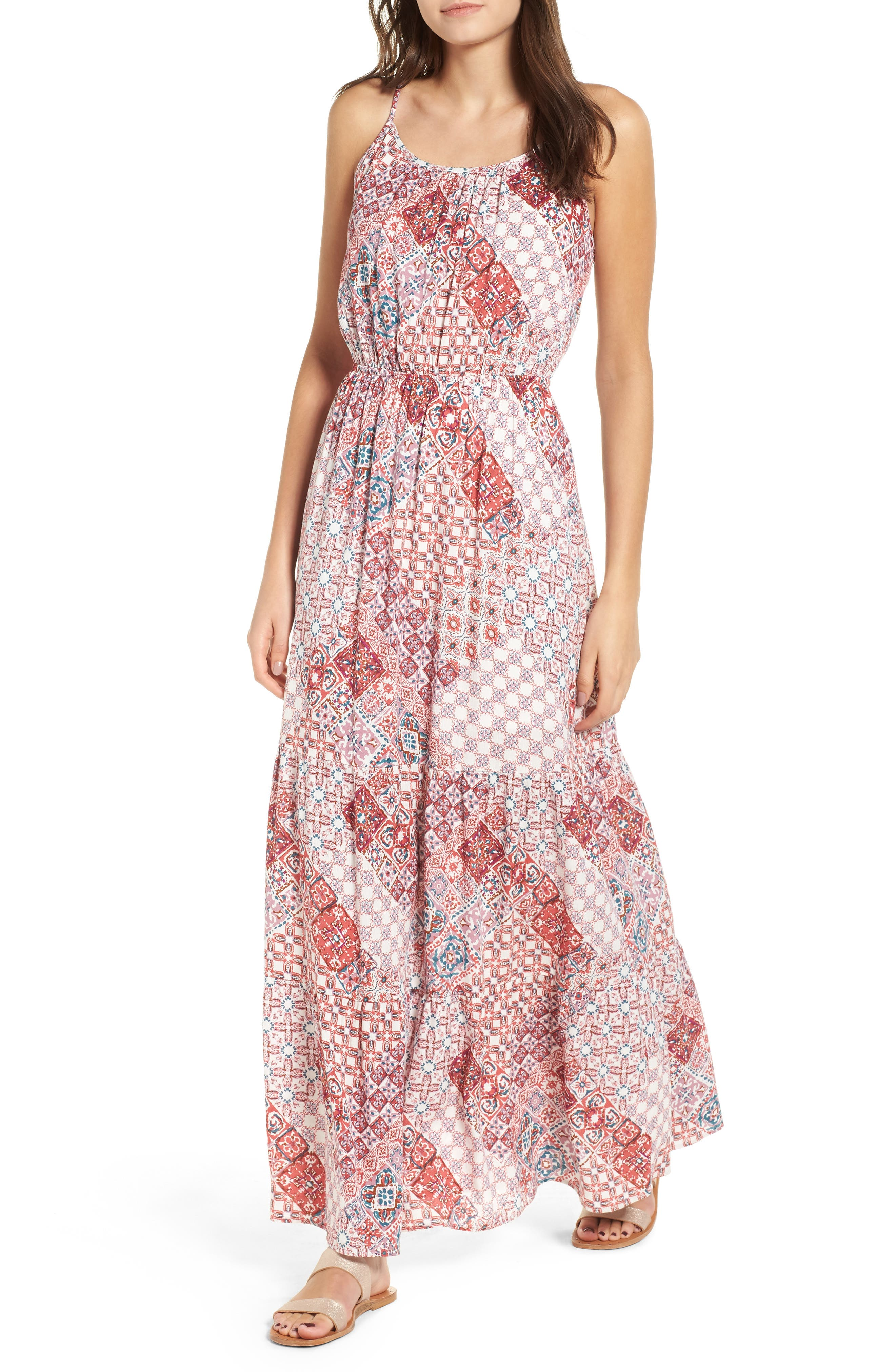 Stripe Bar Back Maxi Dress by One Clothing