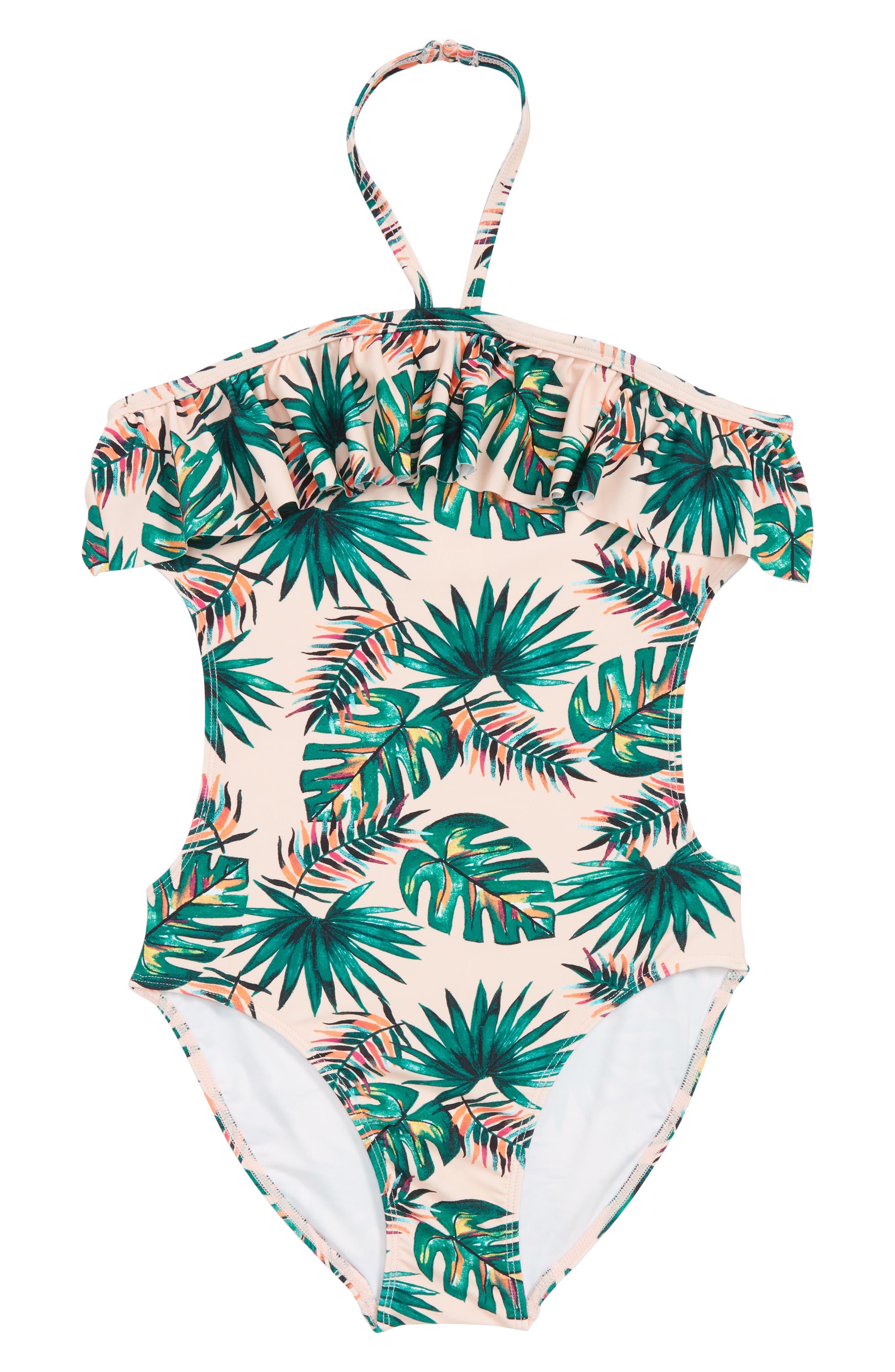 One-Piece Halter Swimsuit,                         Main,                         color, Pink Cream Rainbow Palm