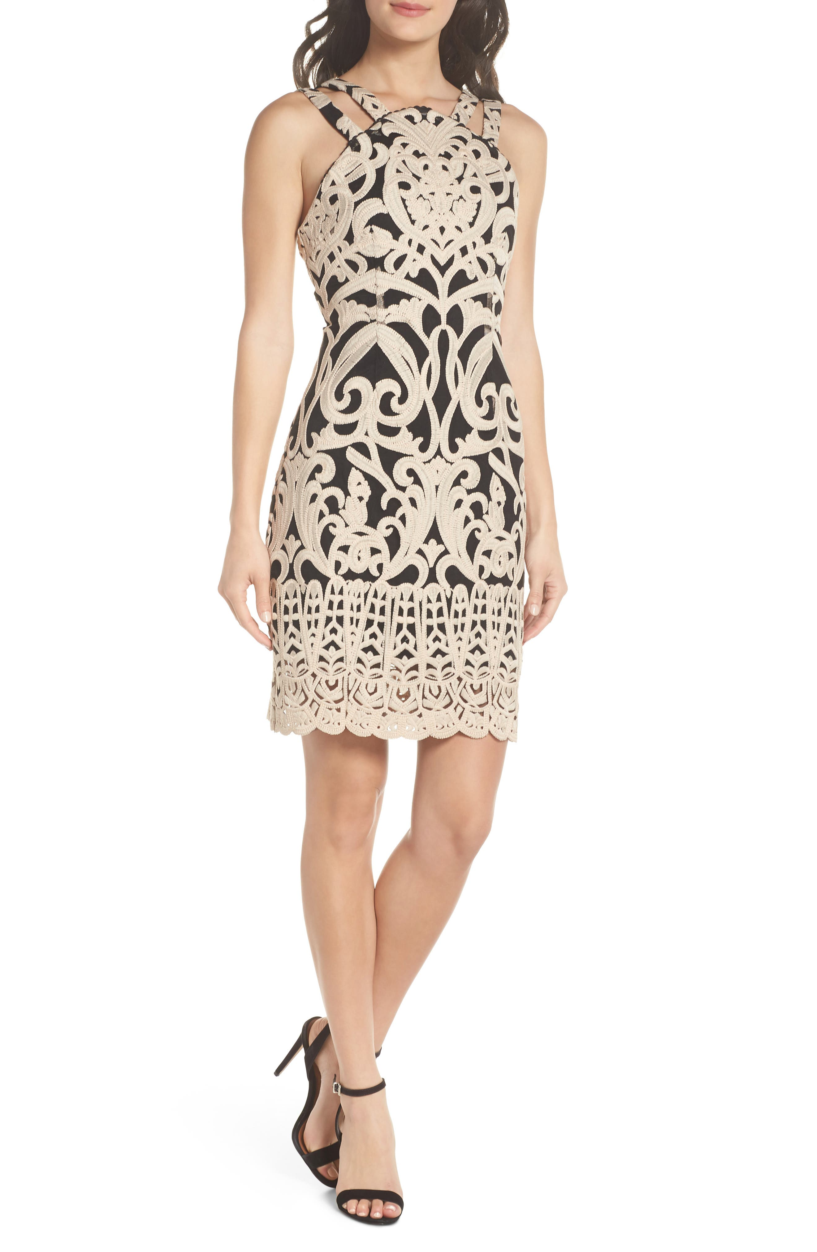 Embroidered Minidress,                         Main,                         color, Off White/ Black