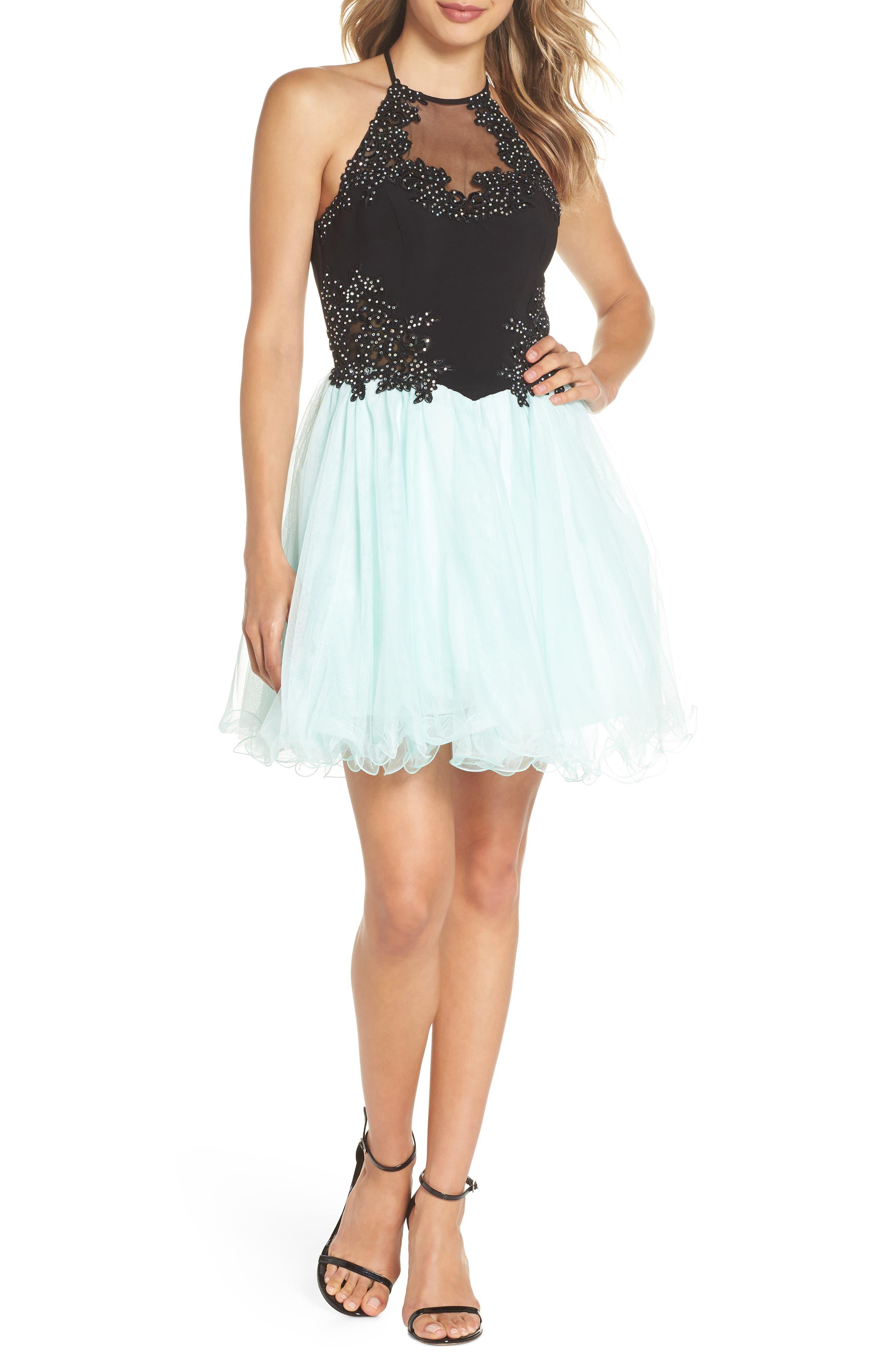 Appliqué Mesh Fit & Flare Halter Dress,                             Main thumbnail 1, color,                             Black/ Mint