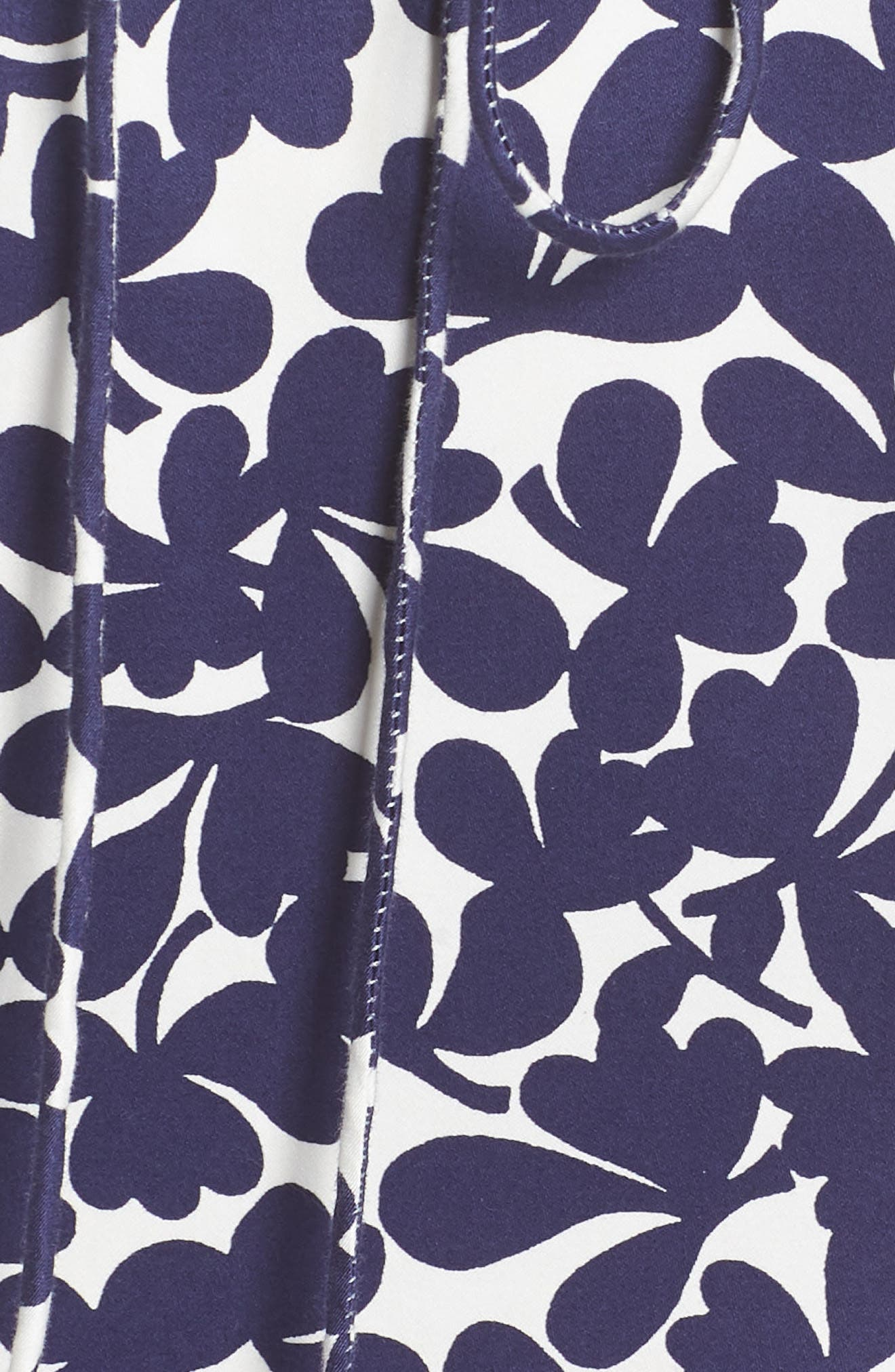 Lady Luck Print Cotton Sateen Dress,                             Alternate thumbnail 6, color,                             Navy/ Ivory