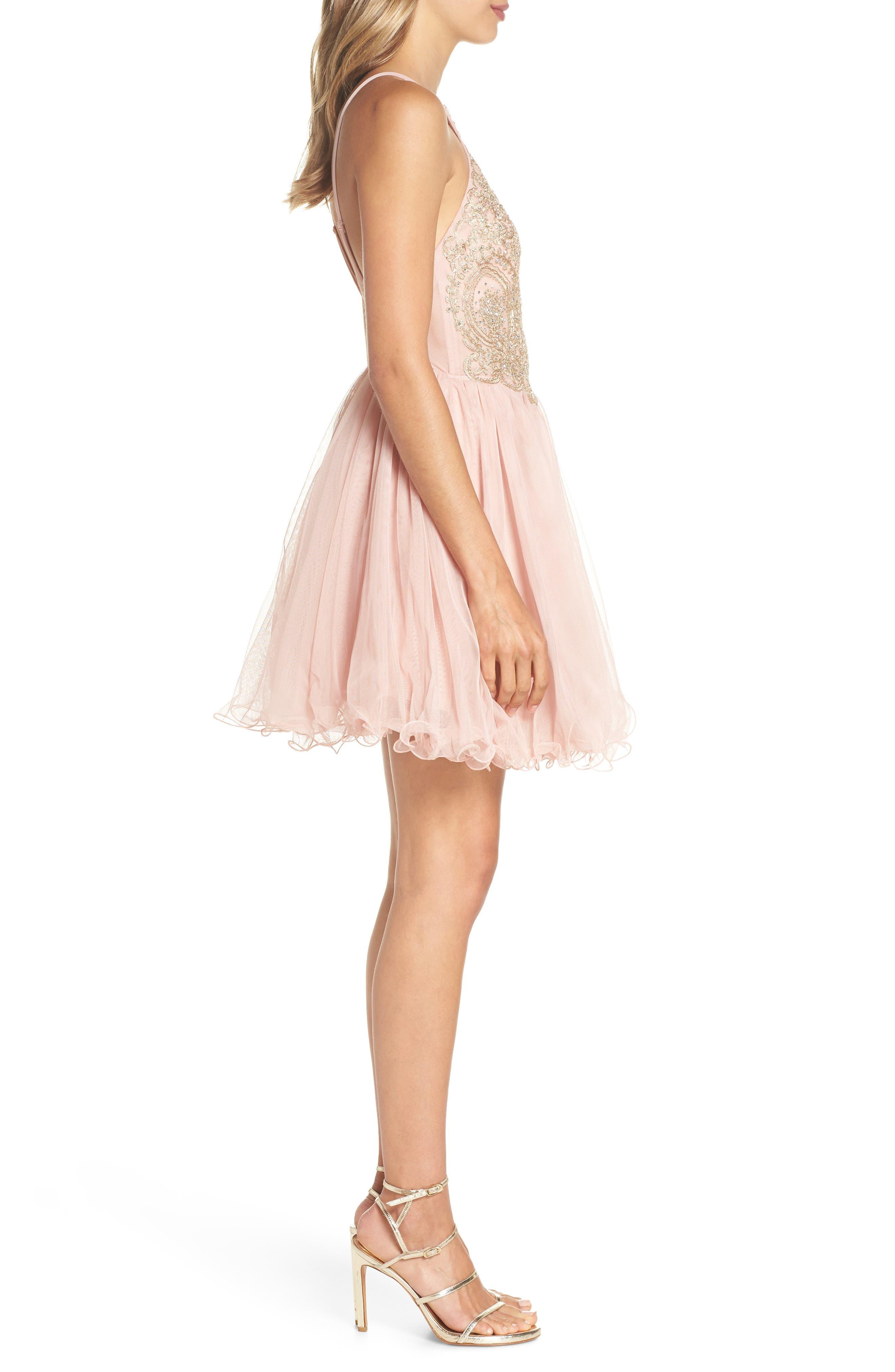 Embellished Fit & Flare Dress,                             Alternate thumbnail 3, color,                             Blush/ Gold