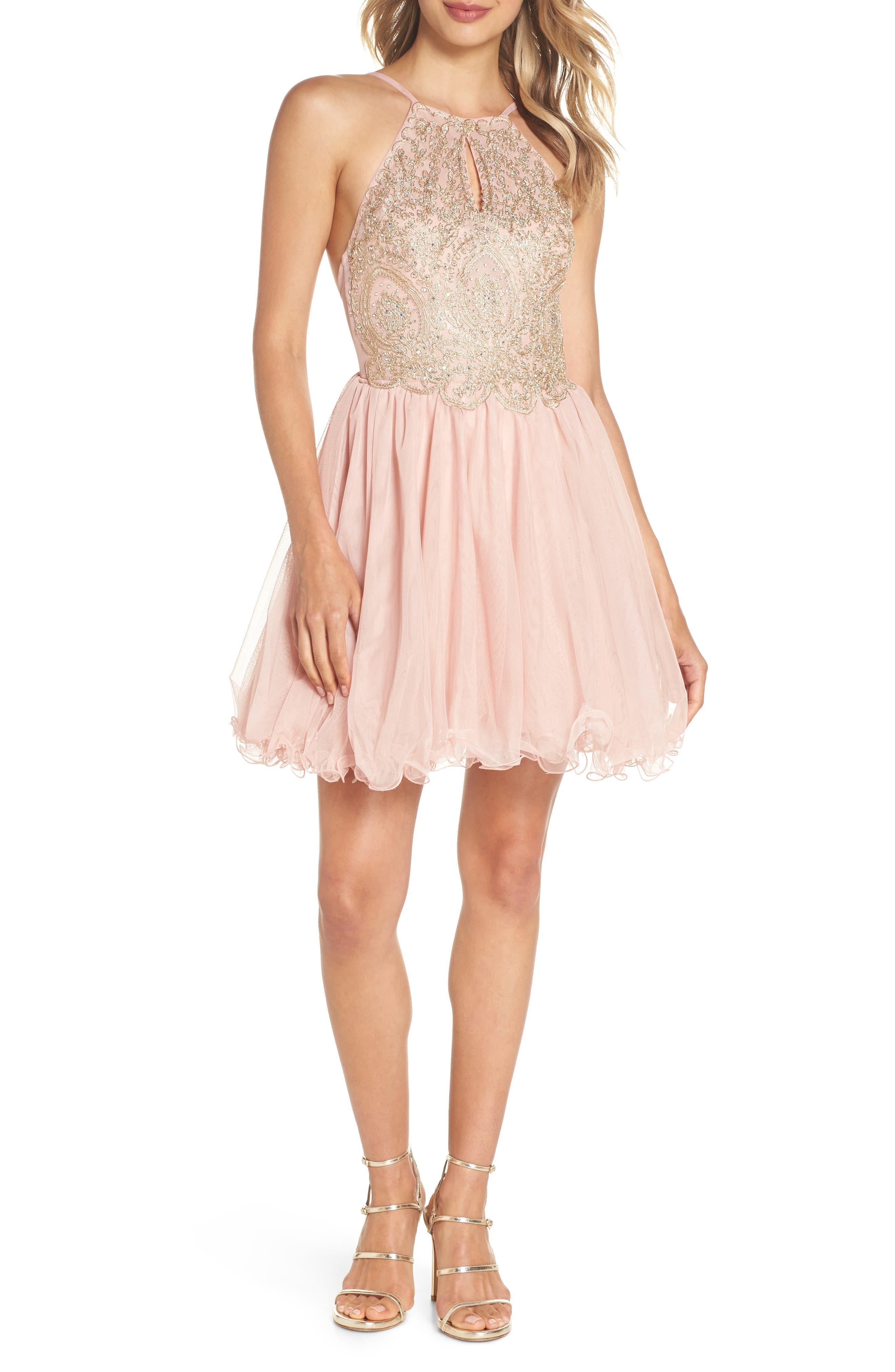 Embellished Fit & Flare Dress,                             Main thumbnail 1, color,                             Blush/ Gold