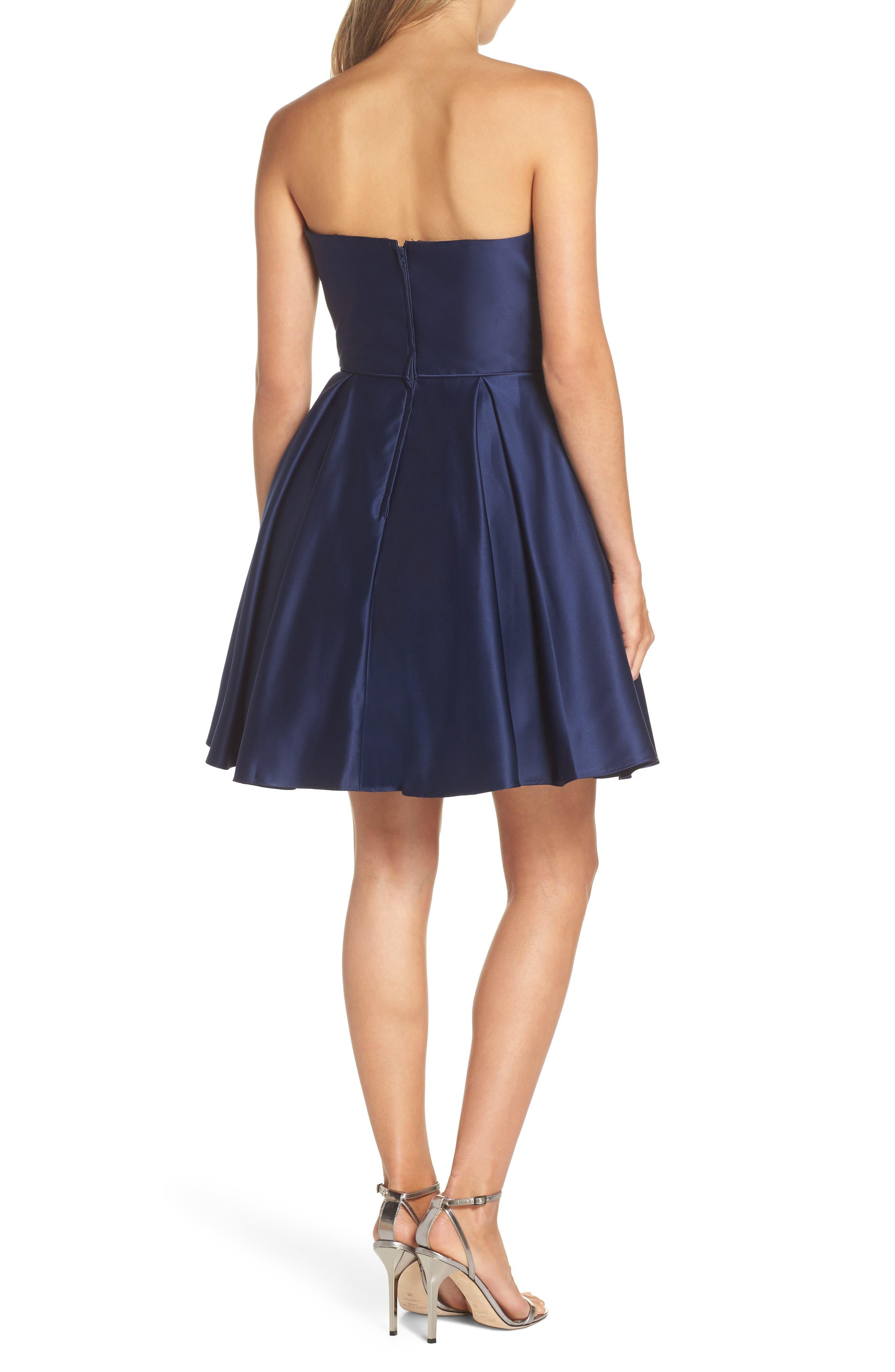 Embellished Satin Fit & Flare Dress,                             Alternate thumbnail 2, color,                             Navy