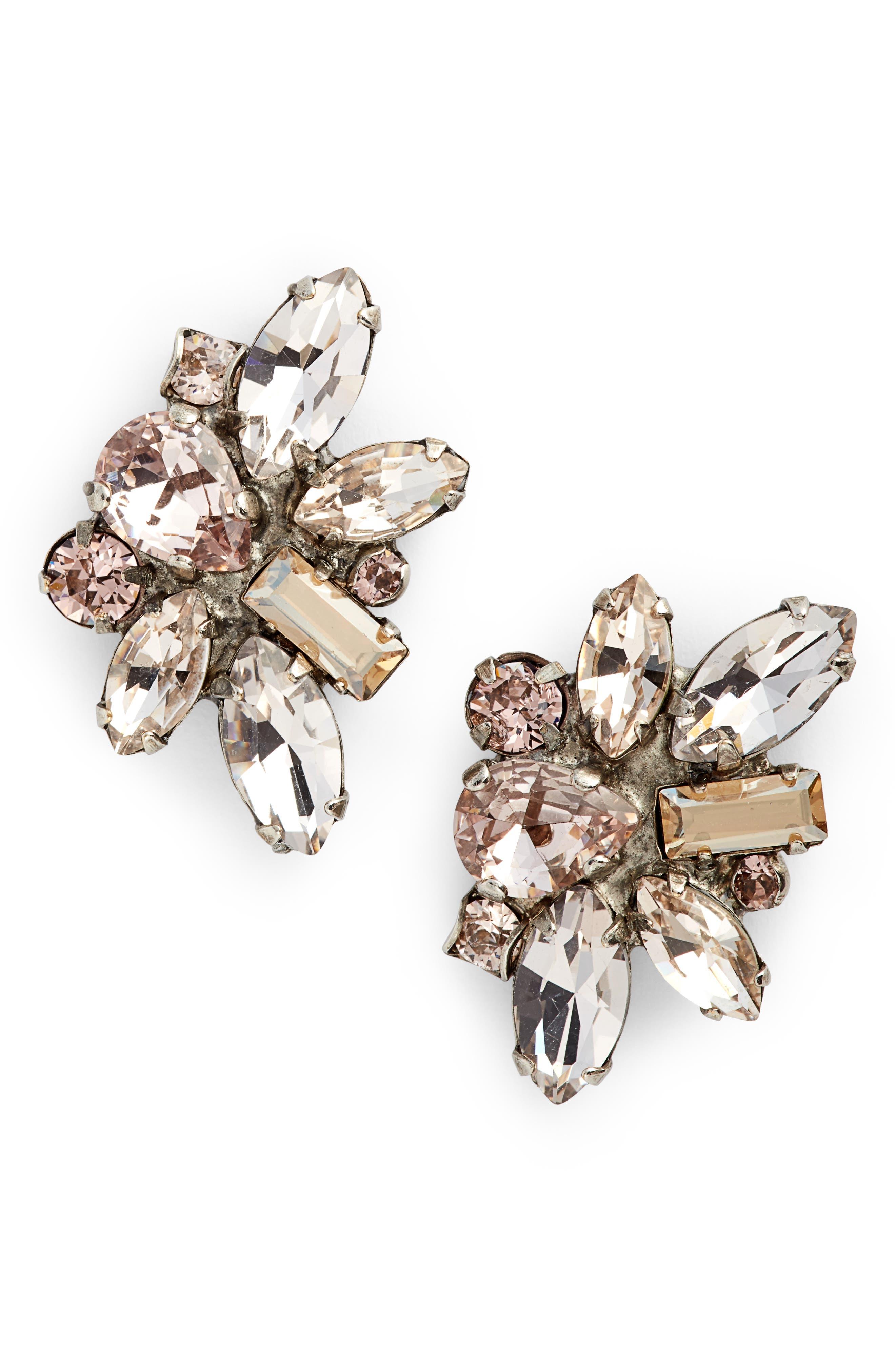 Muscari Crystal Earrings,                         Main,                         color, Pink