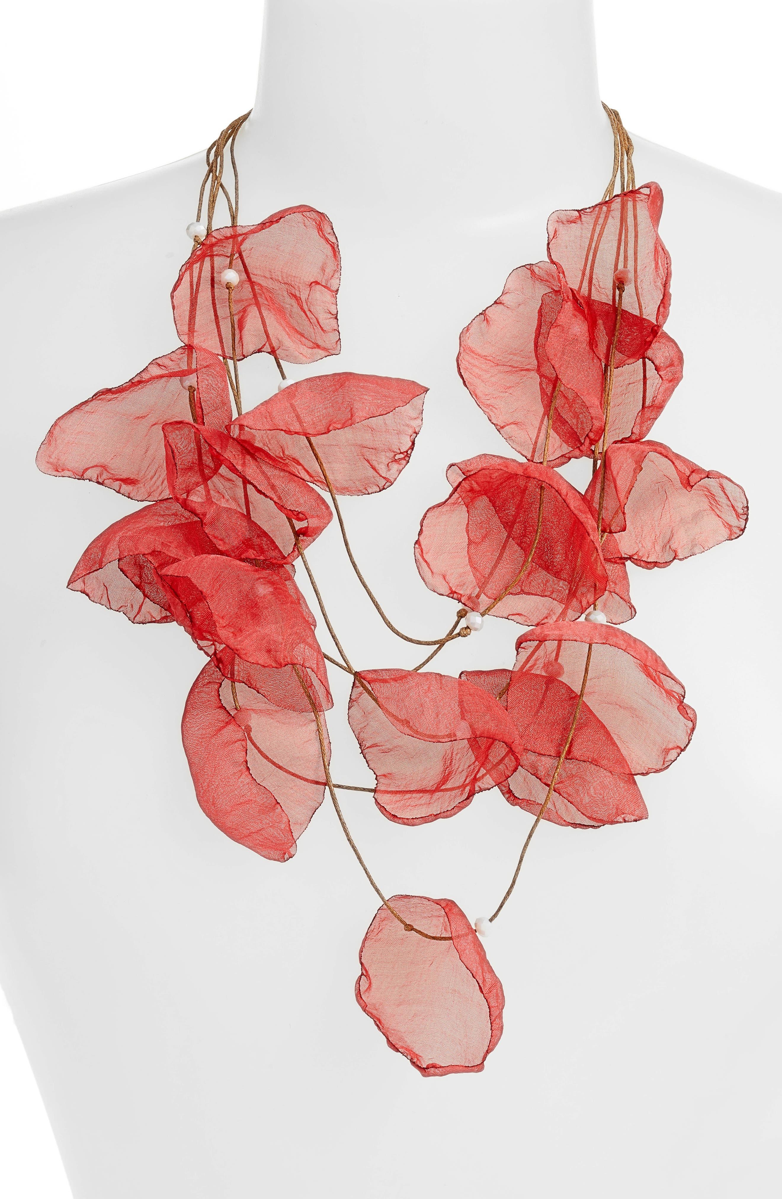 Chiffon Flower Statement Necklace,                             Alternate thumbnail 2, color,                             Gold/ Poppy