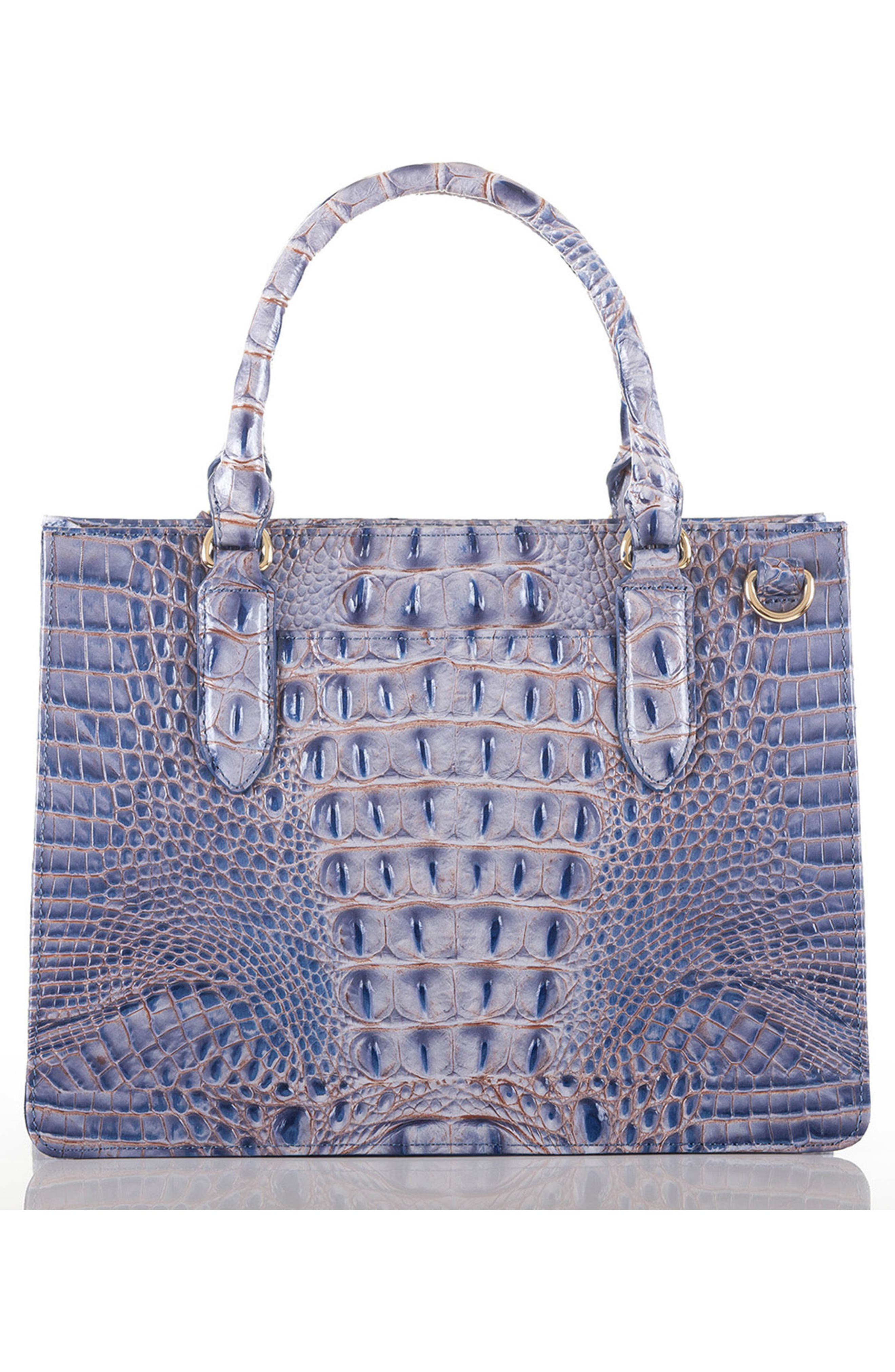Small Camille Embossed Leather Satchel,                             Alternate thumbnail 2, color,                             Washed Indigo