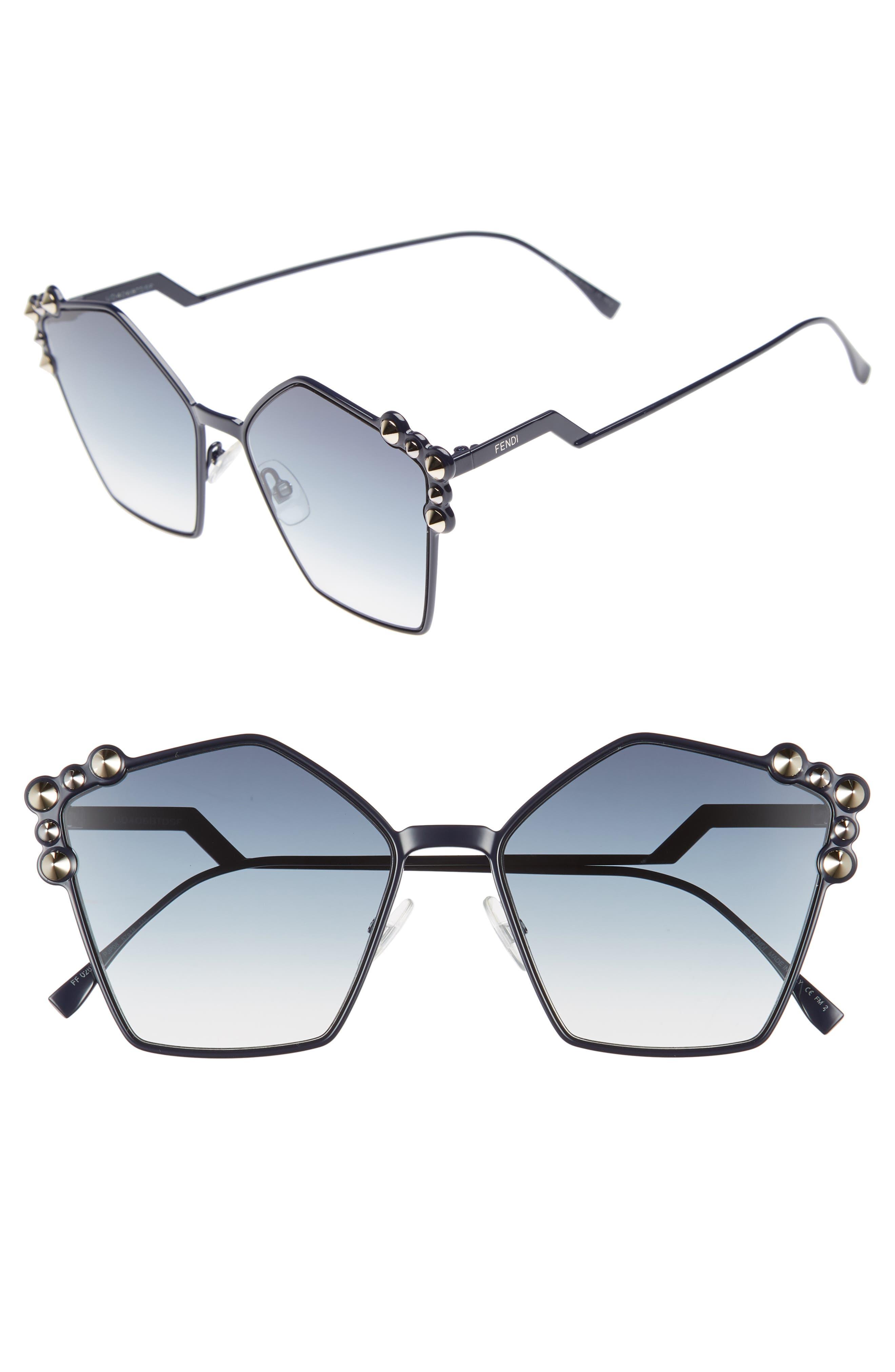 Fendi 57mm Stud Geo Metal Sunglasses