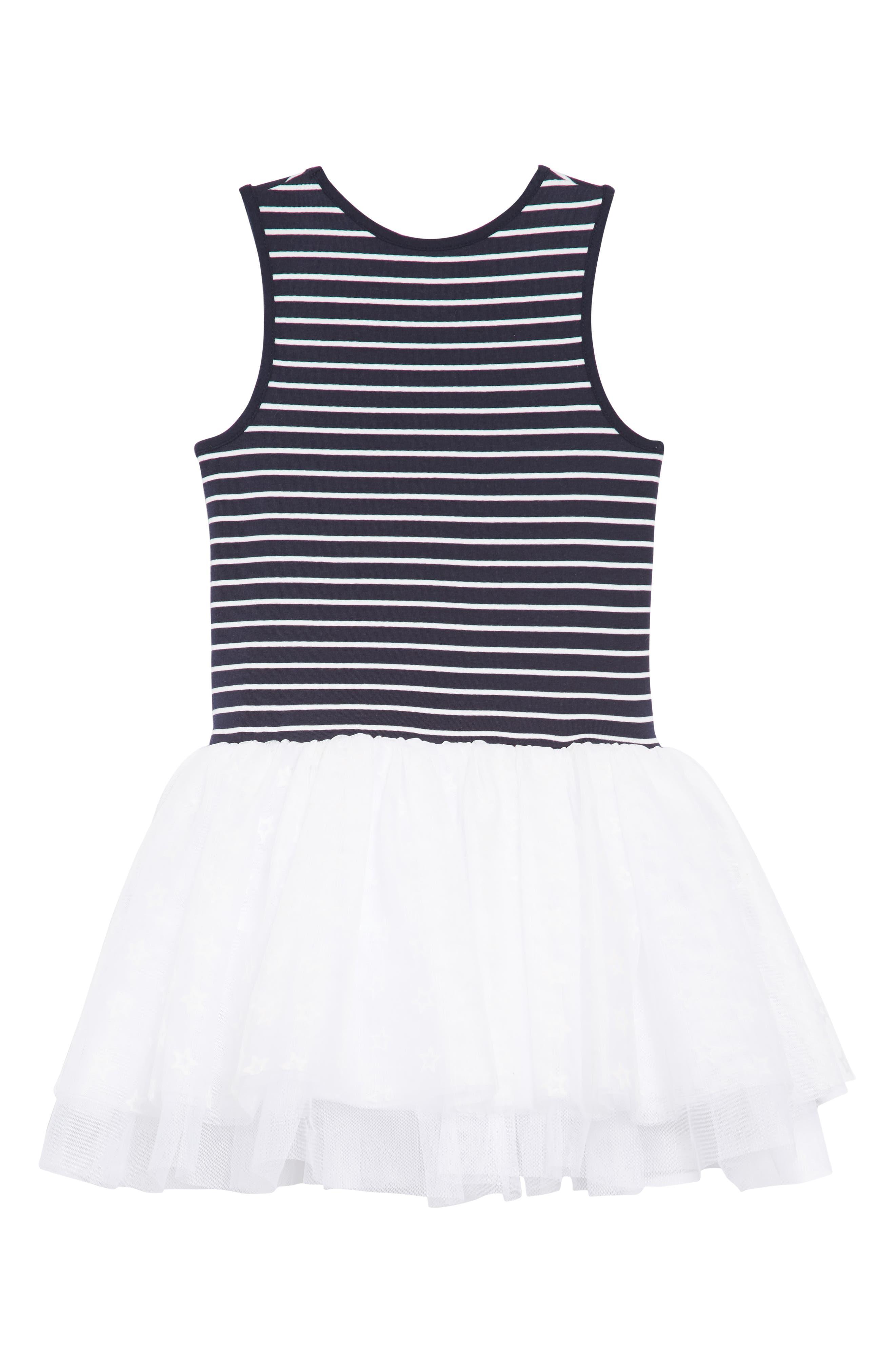 Stars & Stripes Tutu Dress,                             Alternate thumbnail 2, color,                             Navy/ White