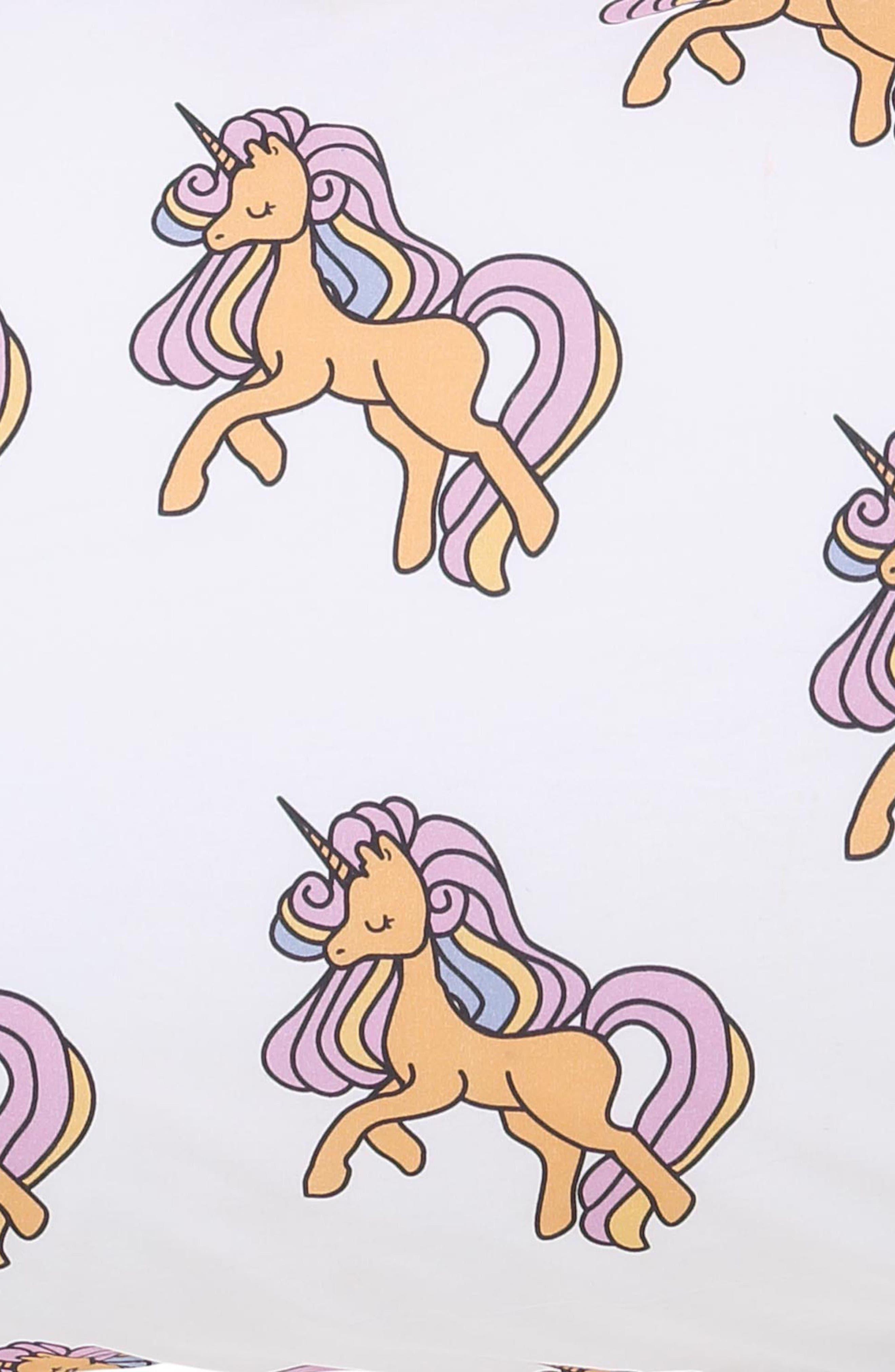 Unicorn Fitted Cotton Sheet,                             Alternate thumbnail 2, color,                             Multi