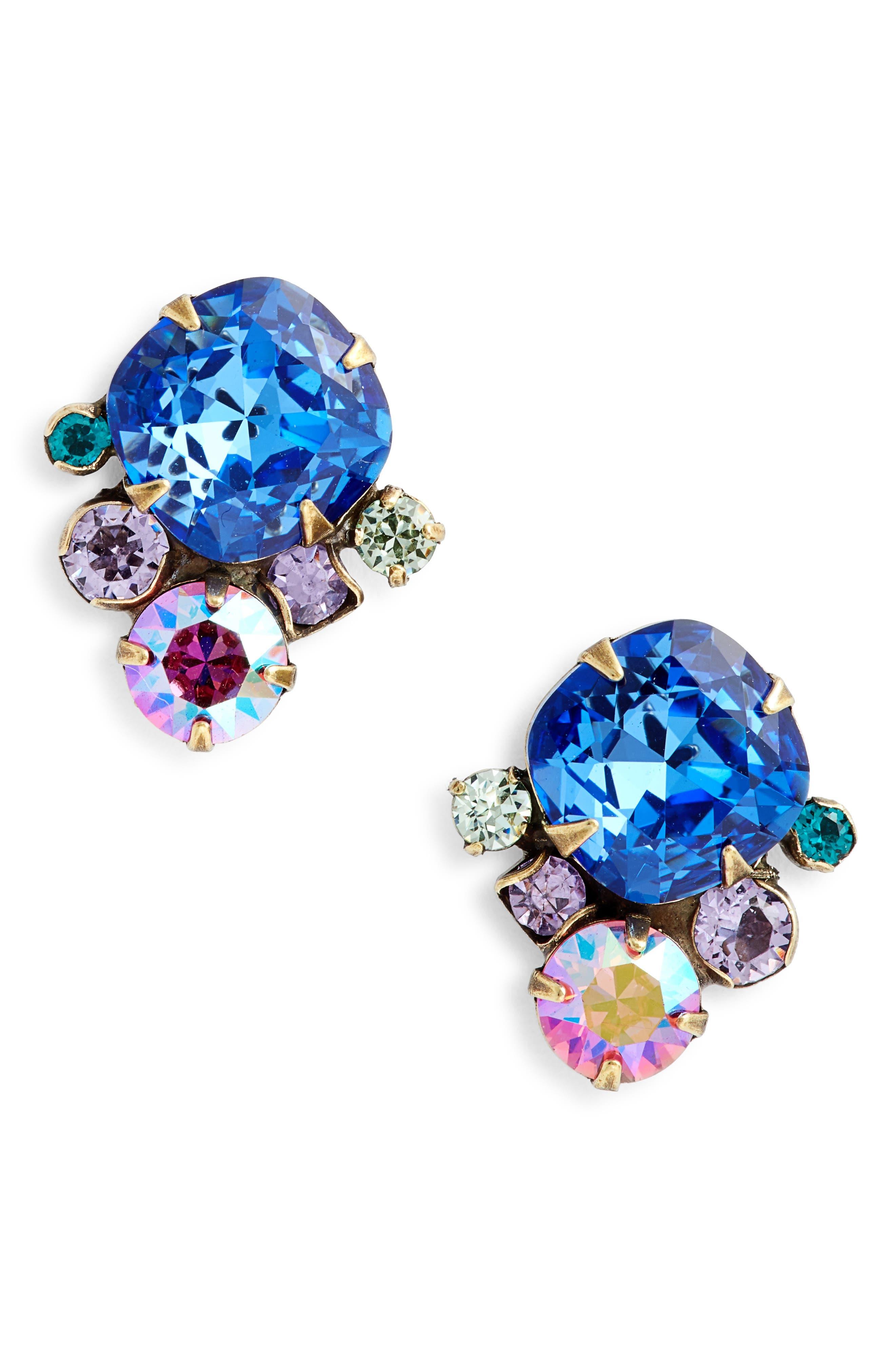 Brugmansia Crystal Earrings,                         Main,                         color, Blue