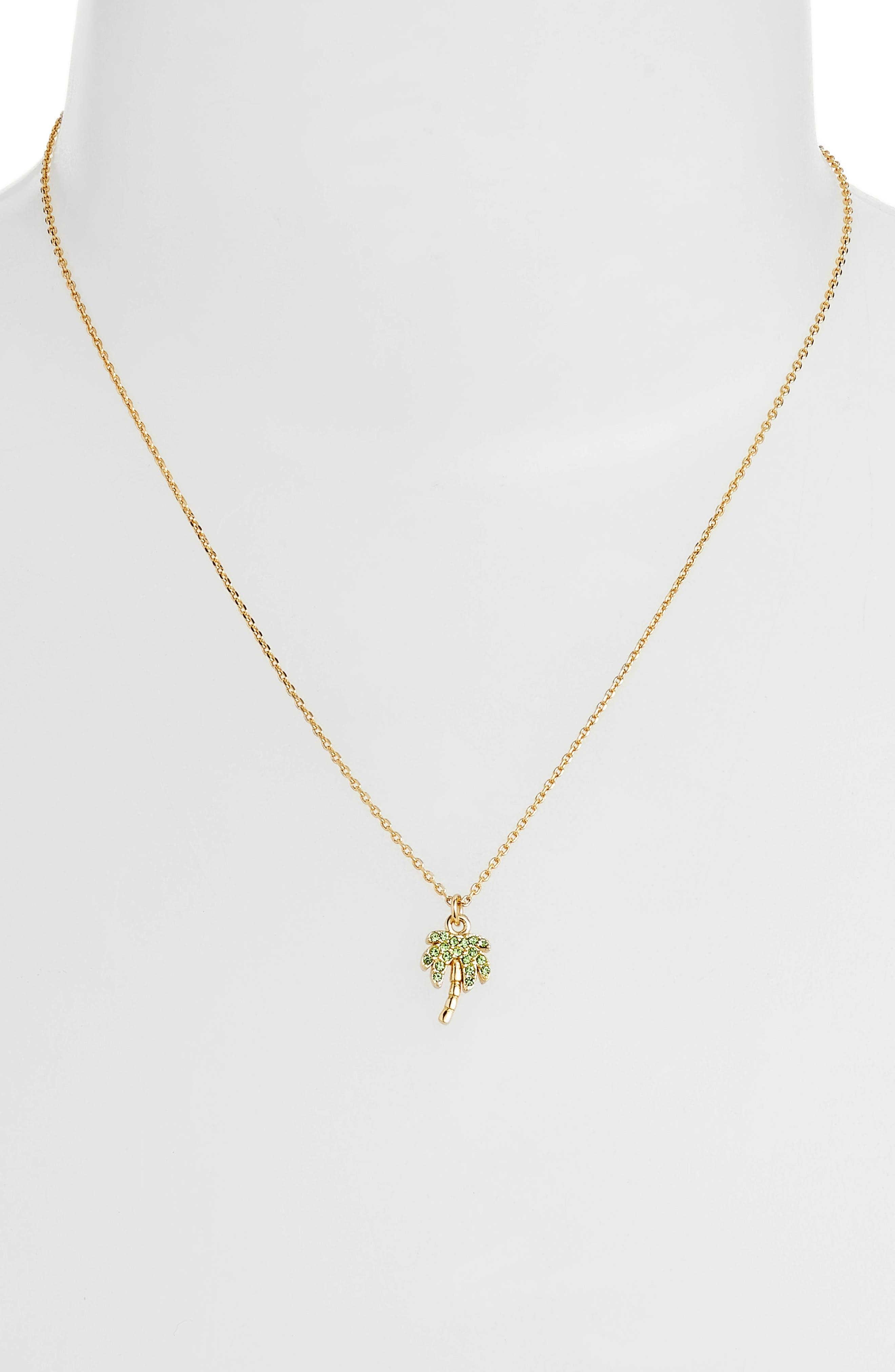 california dreaming pavé palm pendant necklace,                             Alternate thumbnail 2, color,                             Multi