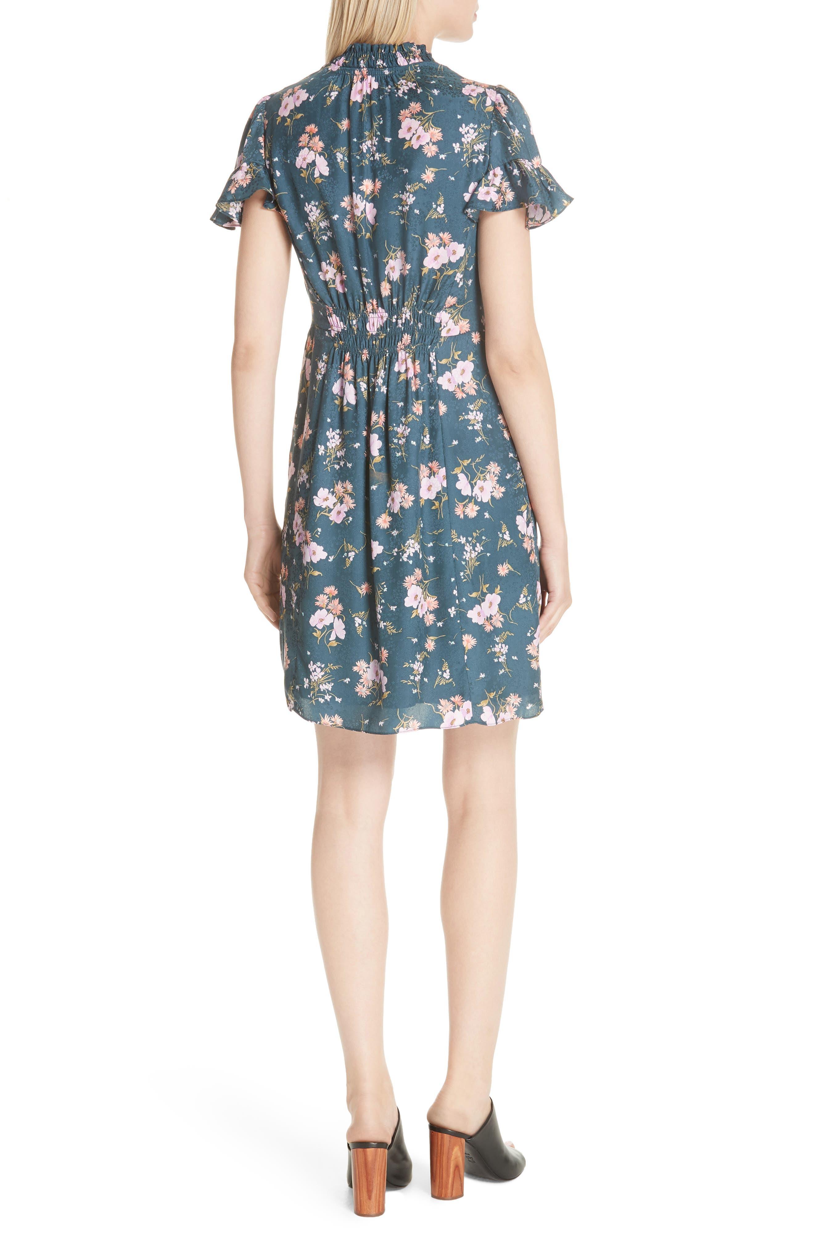 Emilia Floral Silk Jacquard Dress,                             Alternate thumbnail 2, color,                             Teal Combo