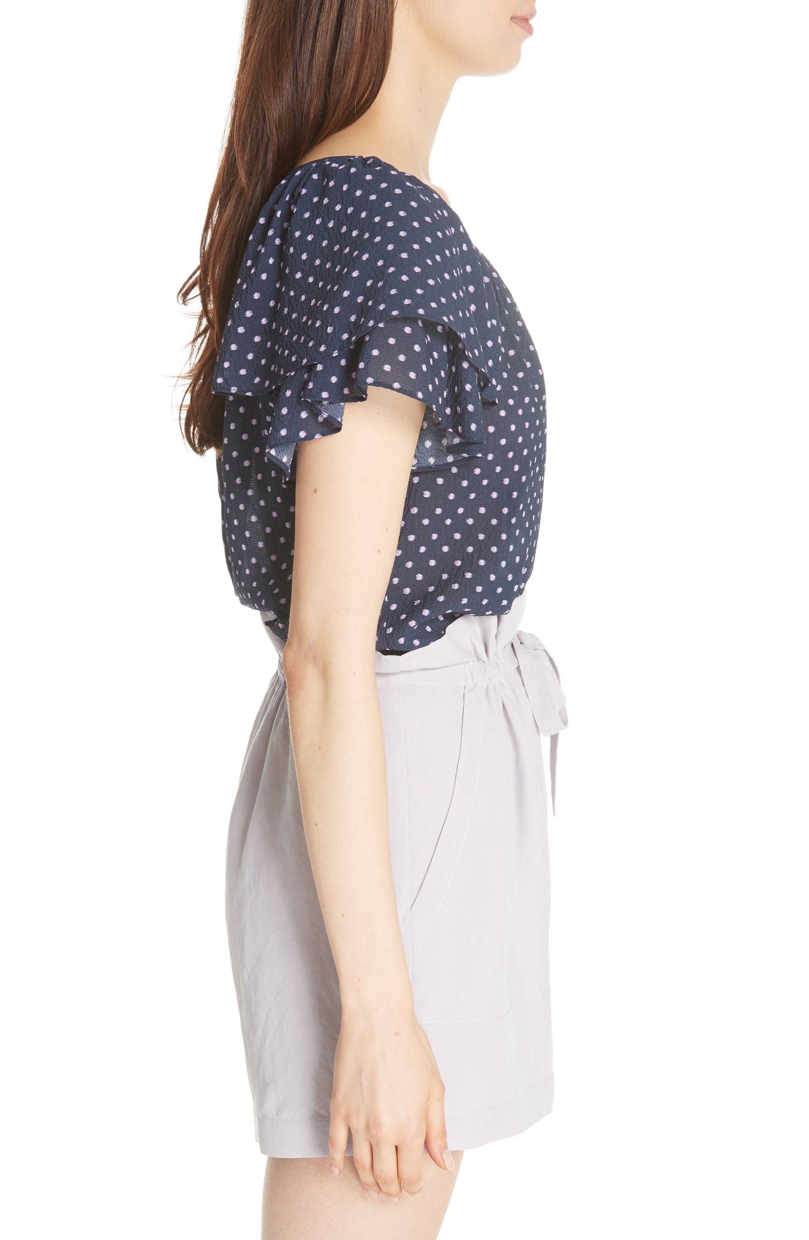 Ikat Dot Ruffle Sleeve Top,                             Alternate thumbnail 4, color,                             Navy Combo