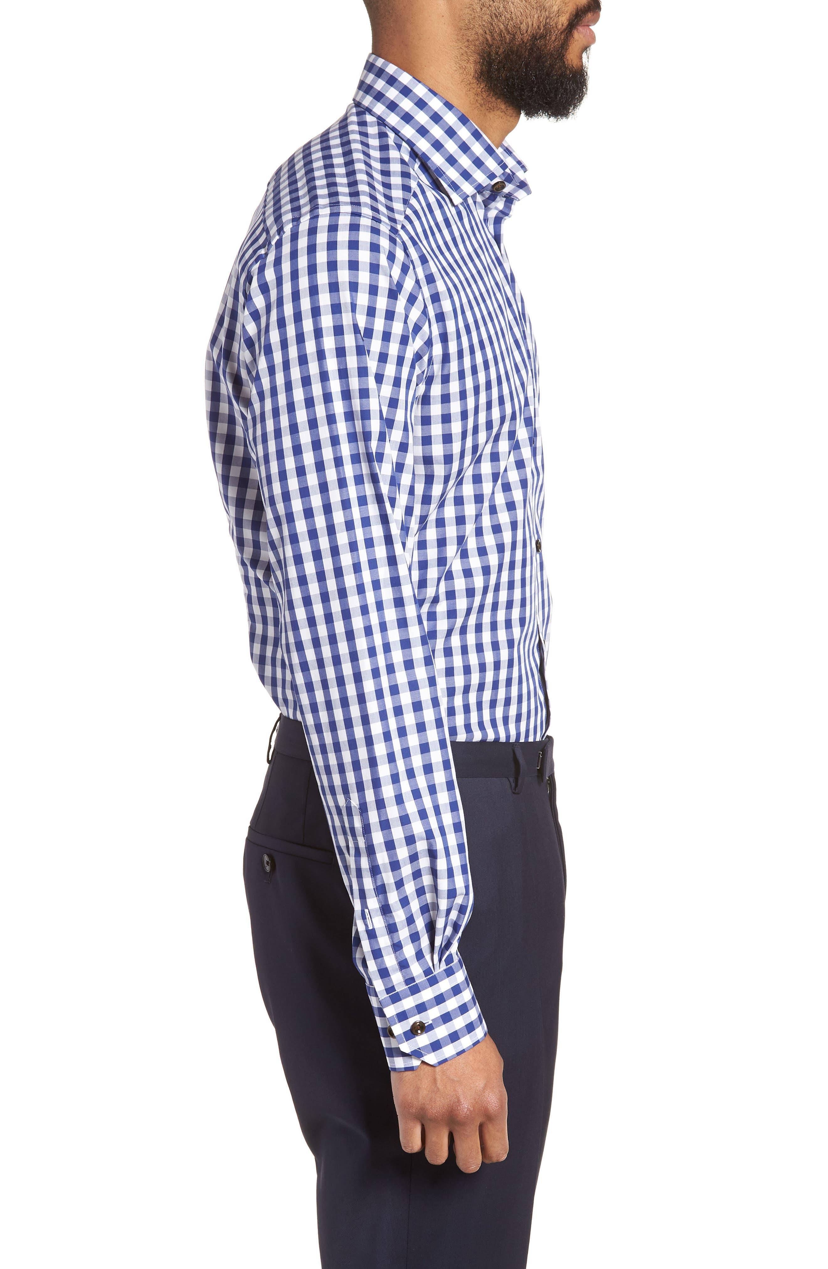 Contemporary Fit Check Dress Shirt,                             Alternate thumbnail 4, color,                             Navy
