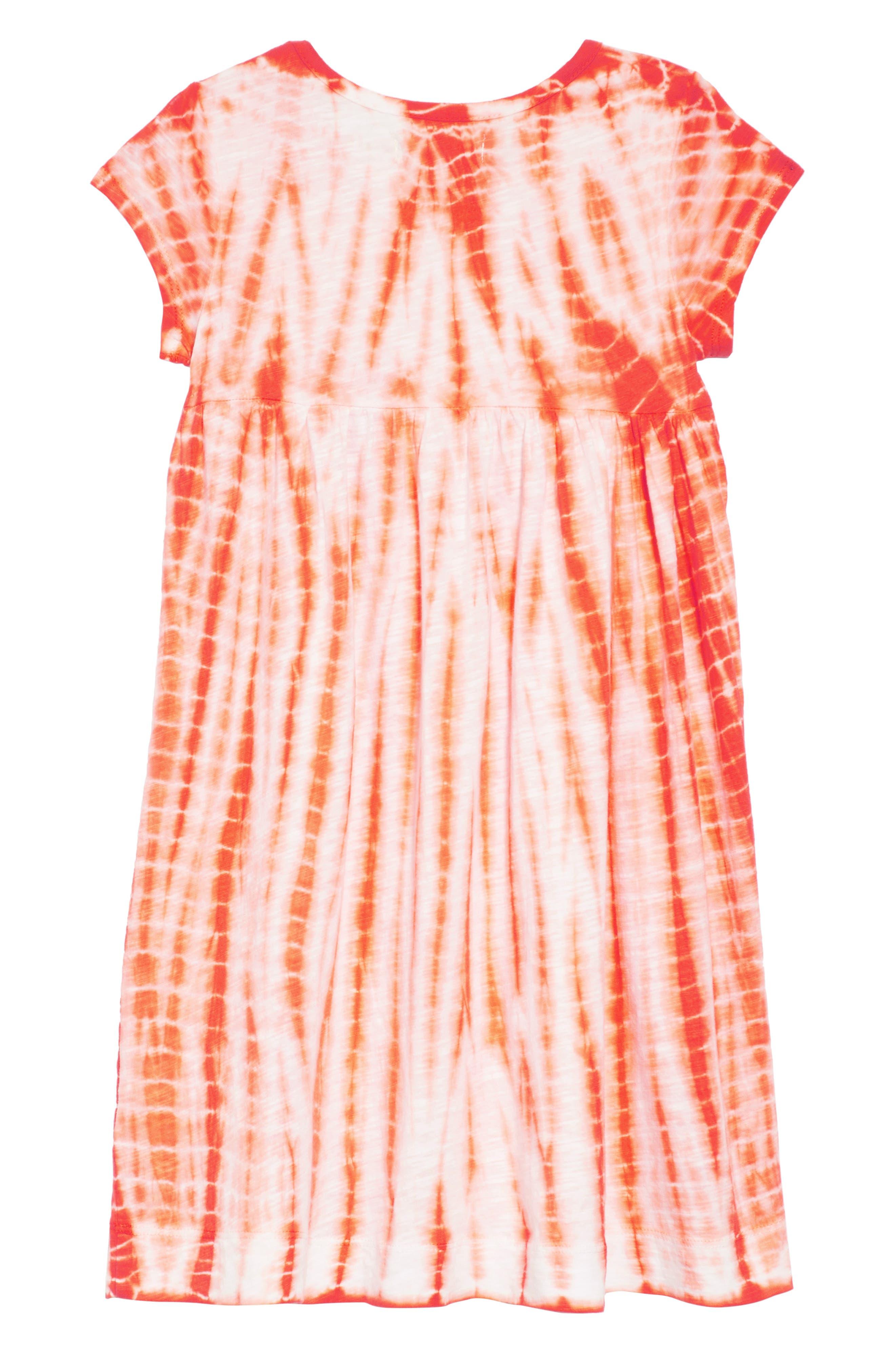 Tie Dye Dress,                             Alternate thumbnail 2, color,                             White- Coral Tie Dye