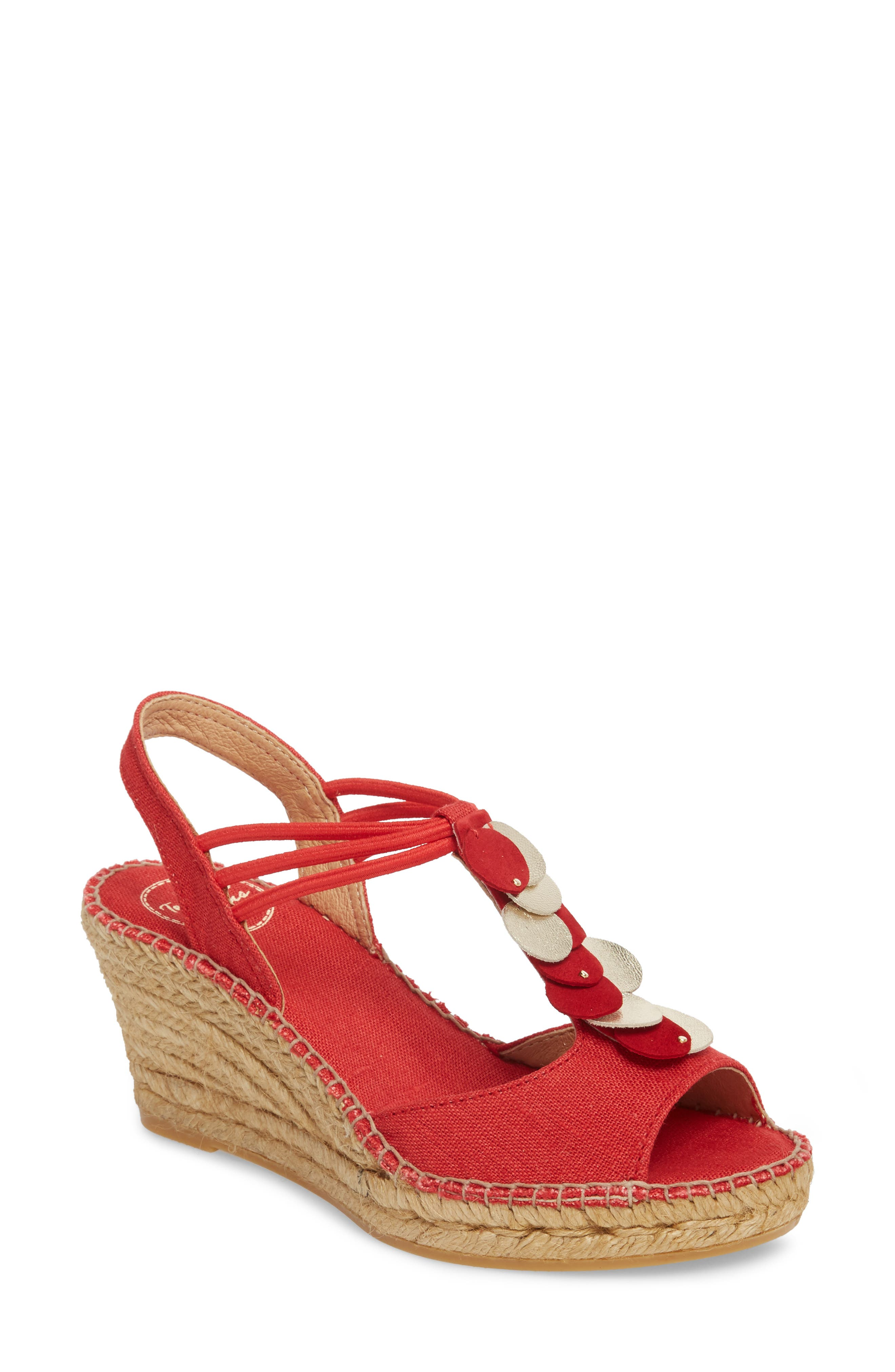 Sitges Espadrille Sandal,                             Main thumbnail 1, color,                             Red Fabric