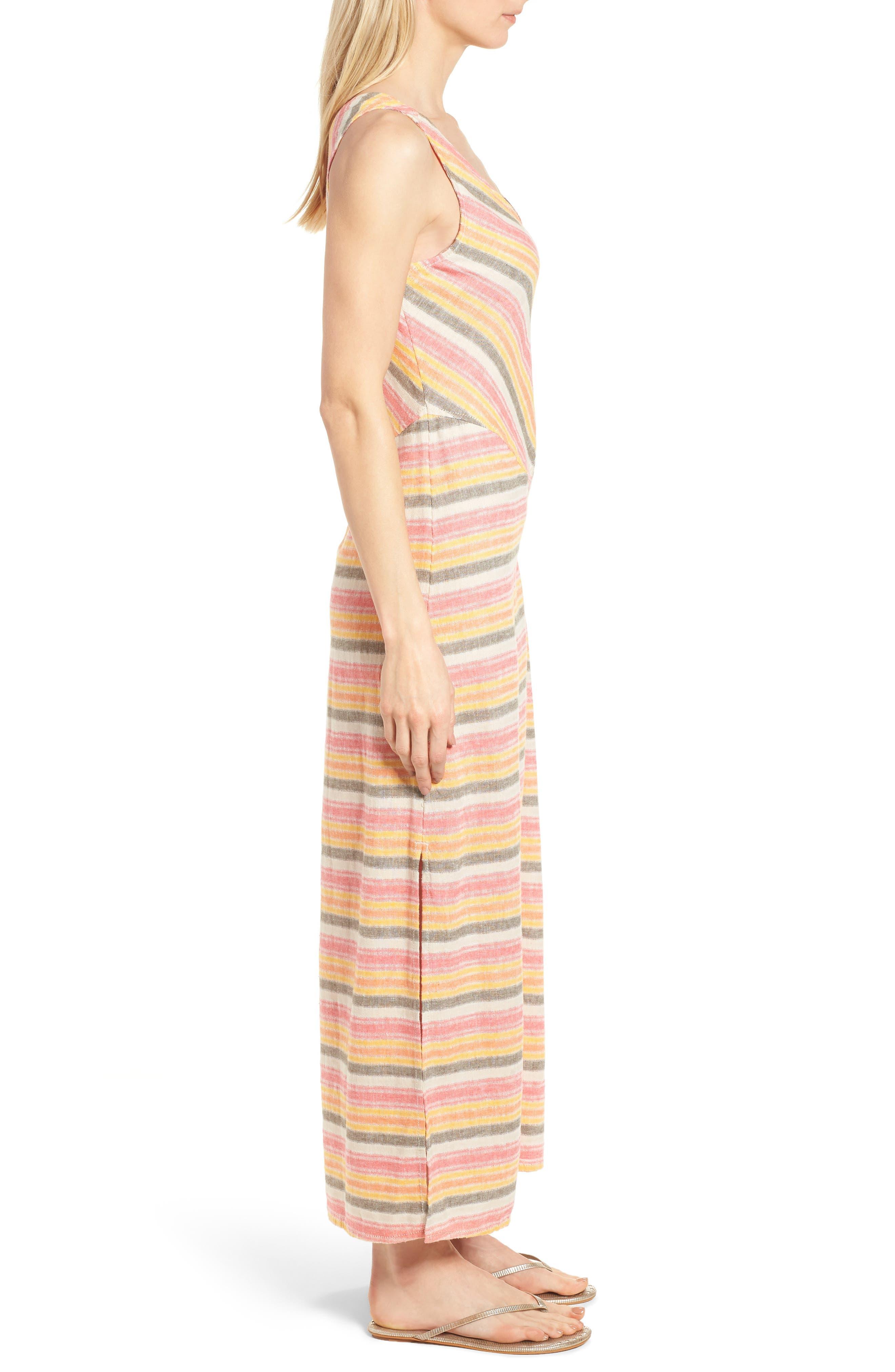 Stripe A-Line Maxi Dress,                             Alternate thumbnail 3, color,                             Coral Erin Stripe