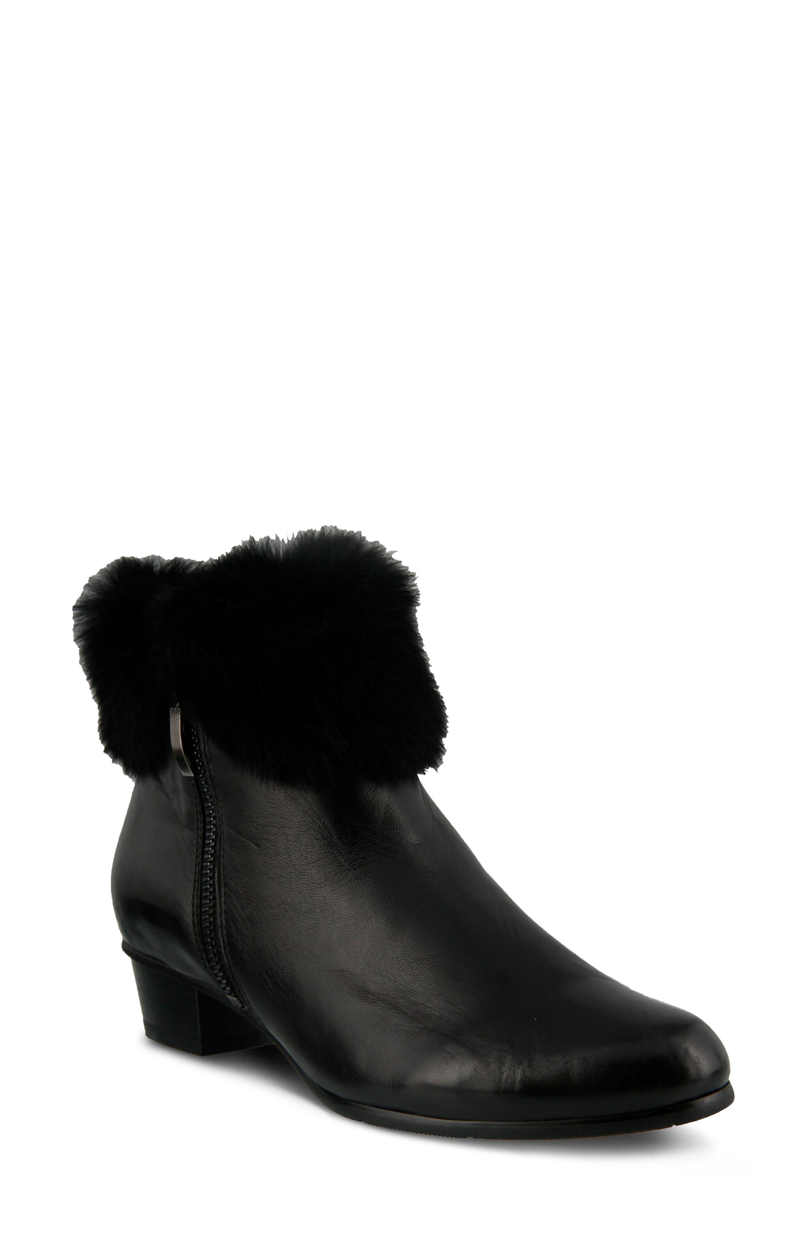 Burnside Faux Fur Trim Bootie,                             Main thumbnail 1, color,                             Black Leather