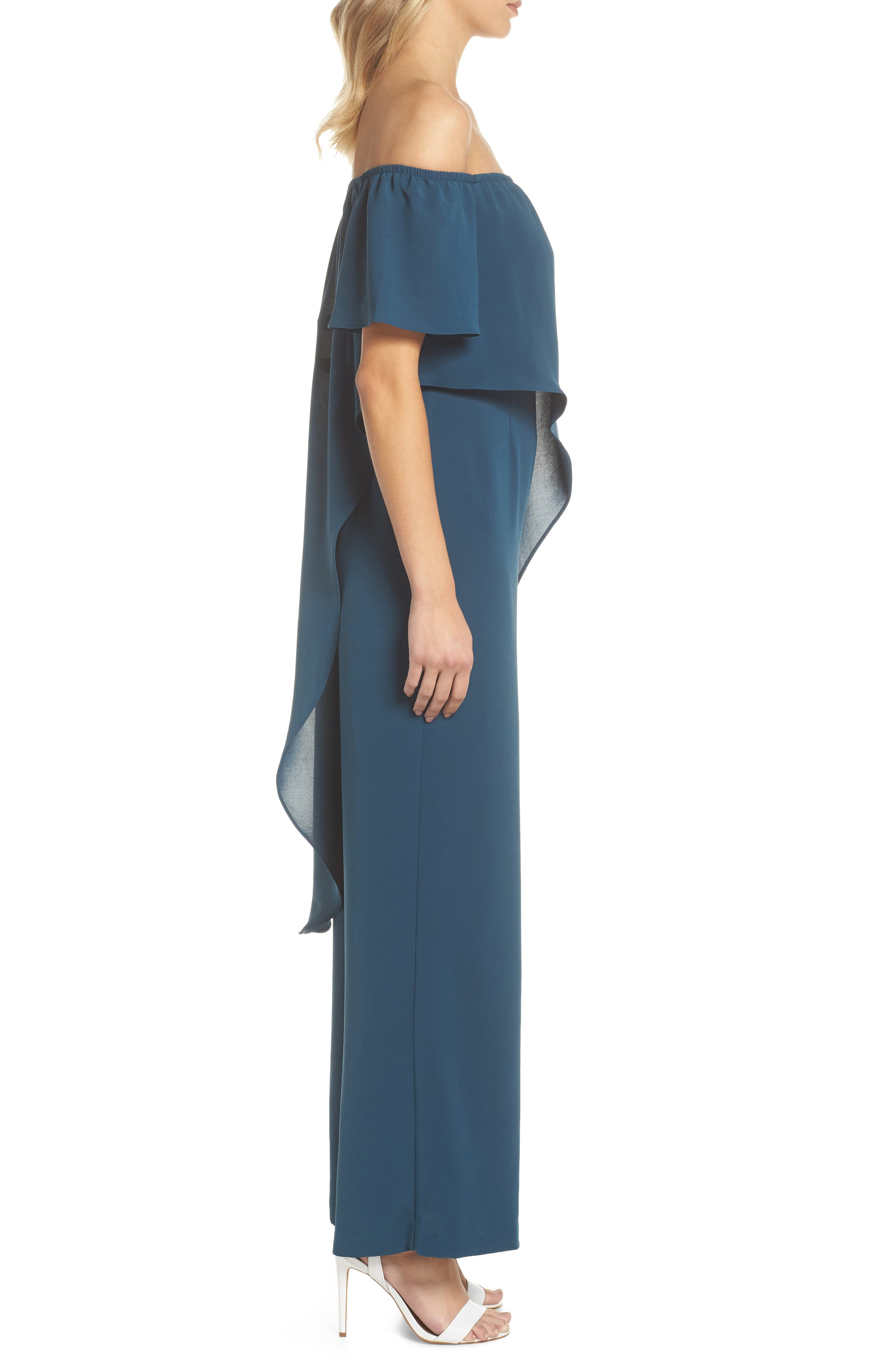 Off the Shoulder Crepe Jumpsuit,                             Alternate thumbnail 3, color,                             Midnight Jungle