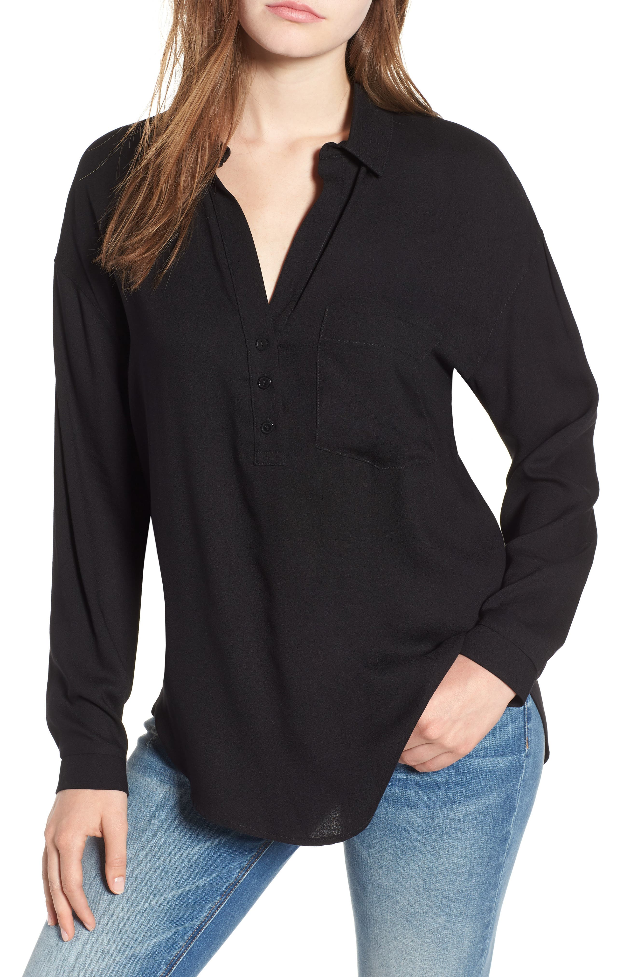 Slouchy Pocket Henley,                         Main,                         color, Solid Black