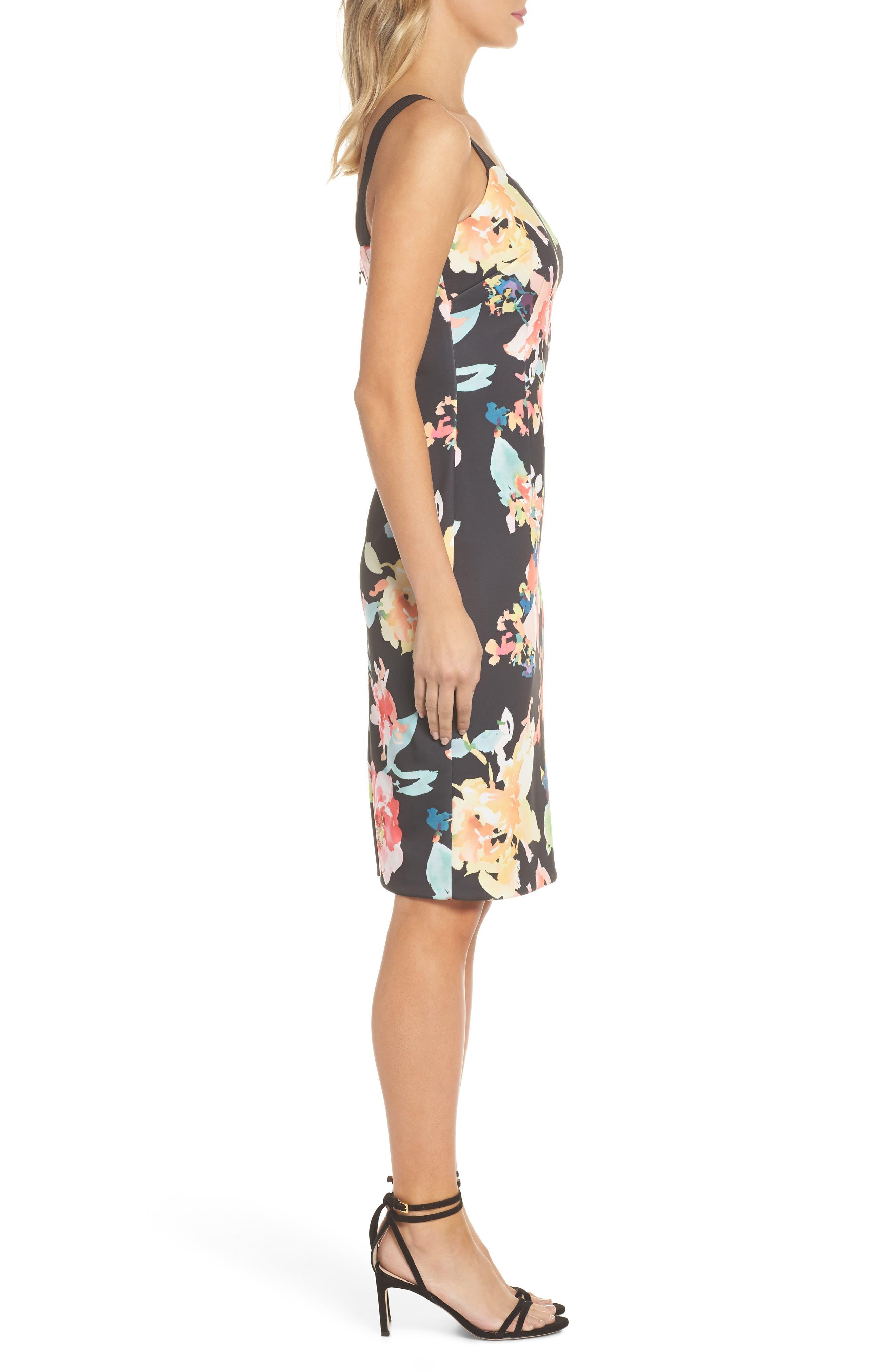Garden Fiesta Print Scuba Sheath Dress,                             Alternate thumbnail 3, color,                             Black Multi