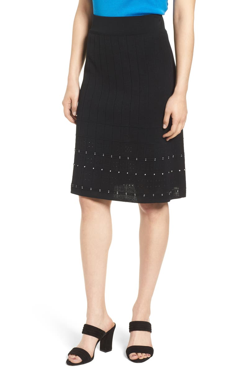 Pointelle Knit A-Line Sweater Skirt