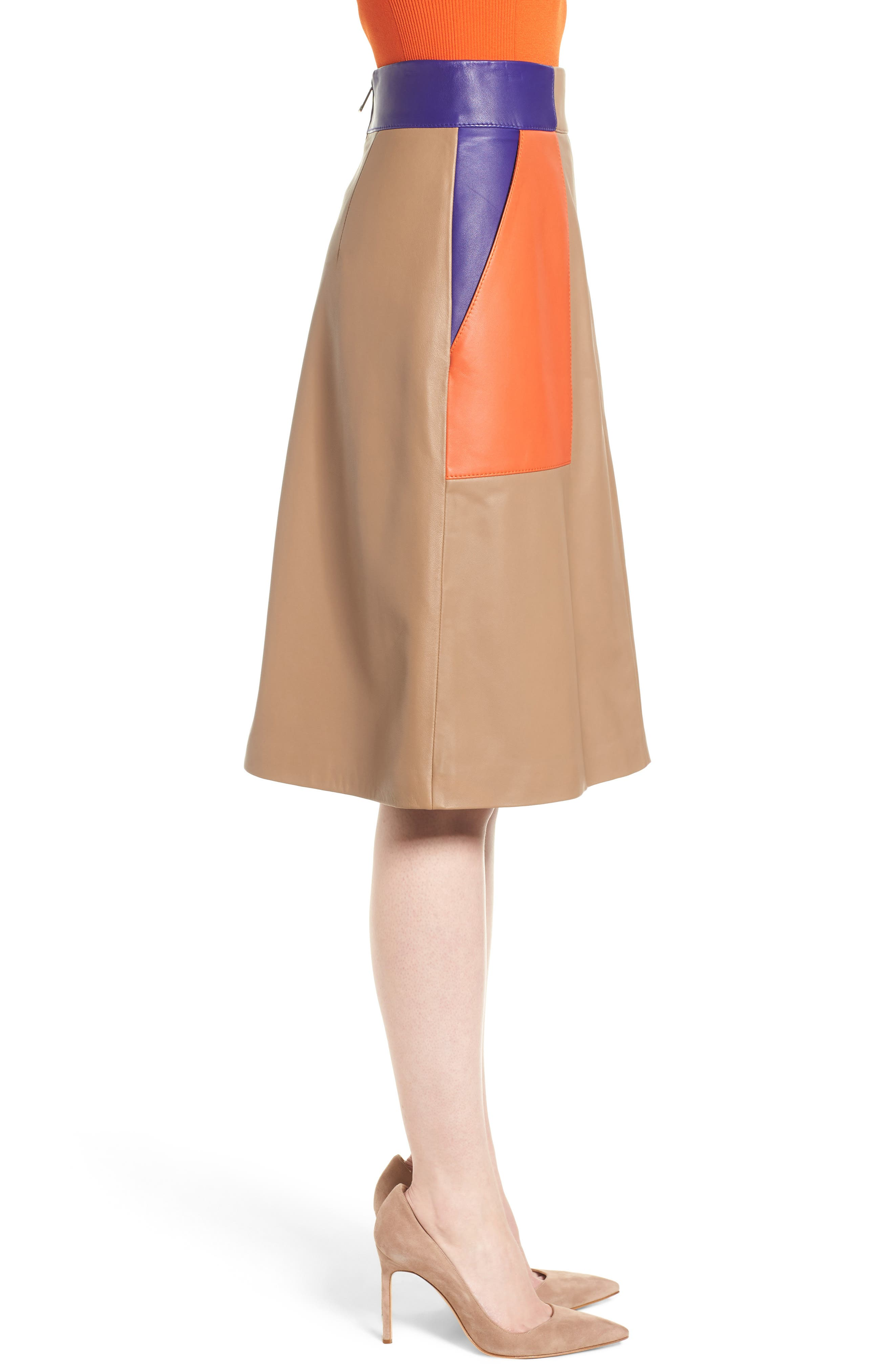 Seplea Colorblock Leather Skirt,                             Alternate thumbnail 3, color,                             Warm Clay Fantasy