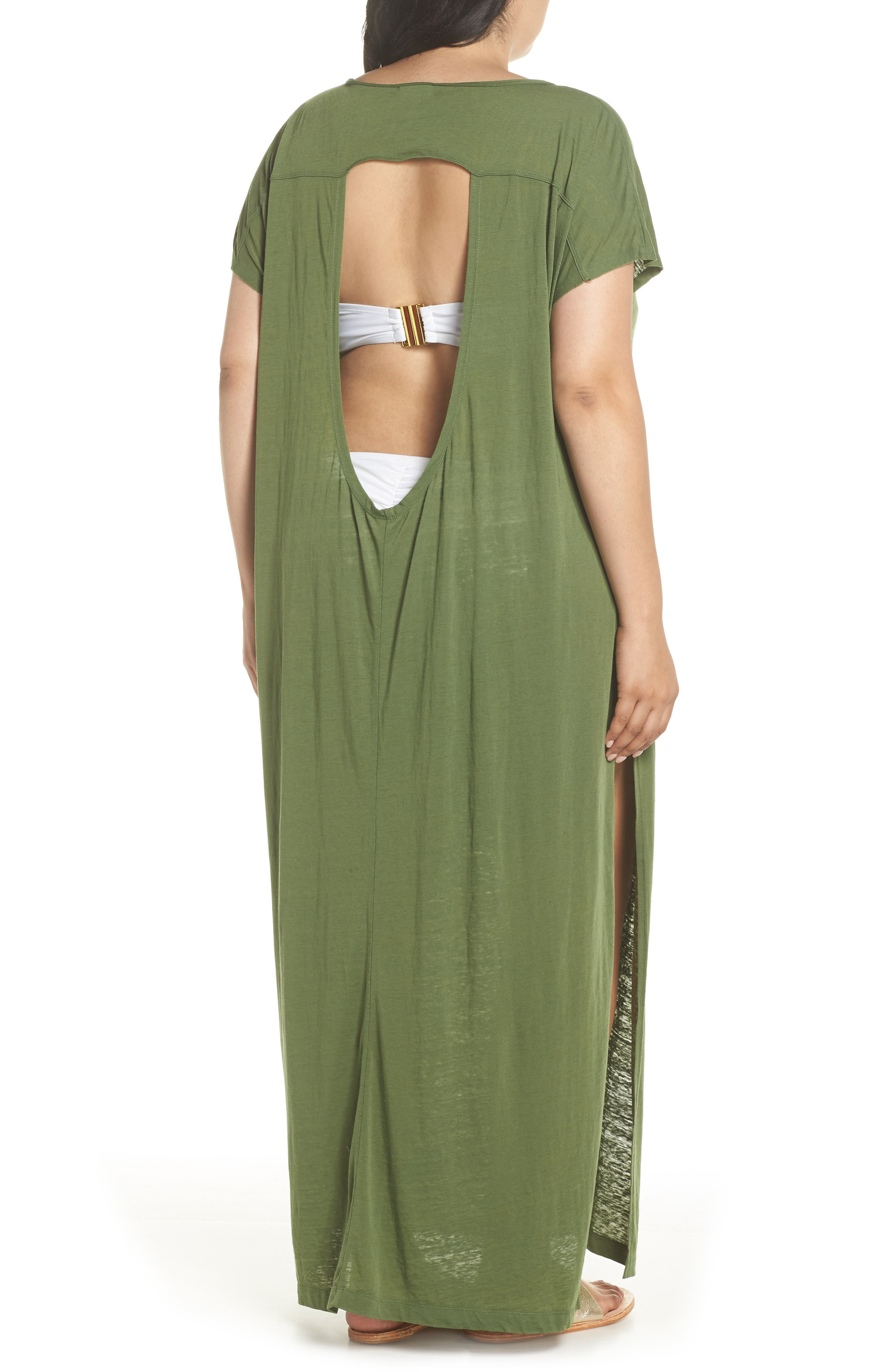 Henley Cover-Up Dress,                             Alternate thumbnail 2, color,                             Green Bronze