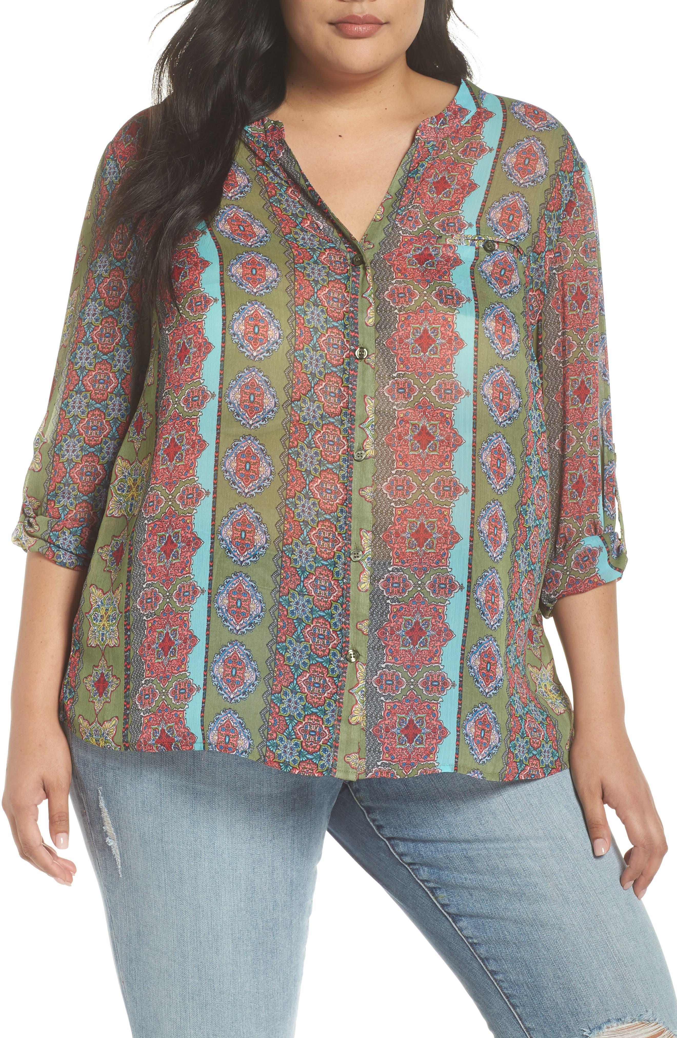 Jasmine Print Roll Sleeve Top,                         Main,                         color, Olive/ Pink