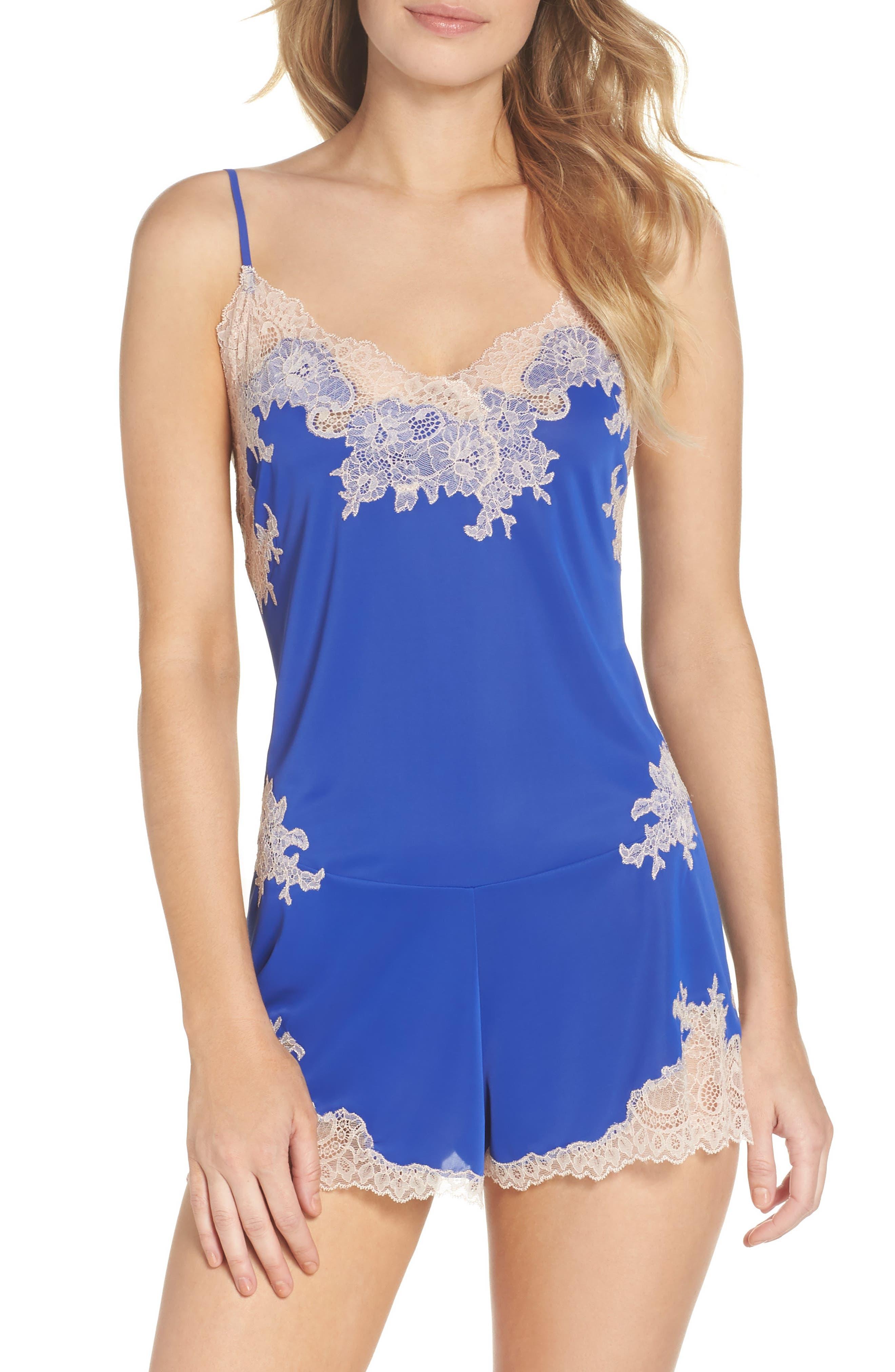 Enchant Lace Romper,                         Main,                         color, Cobalt/ Cam Rse Lace