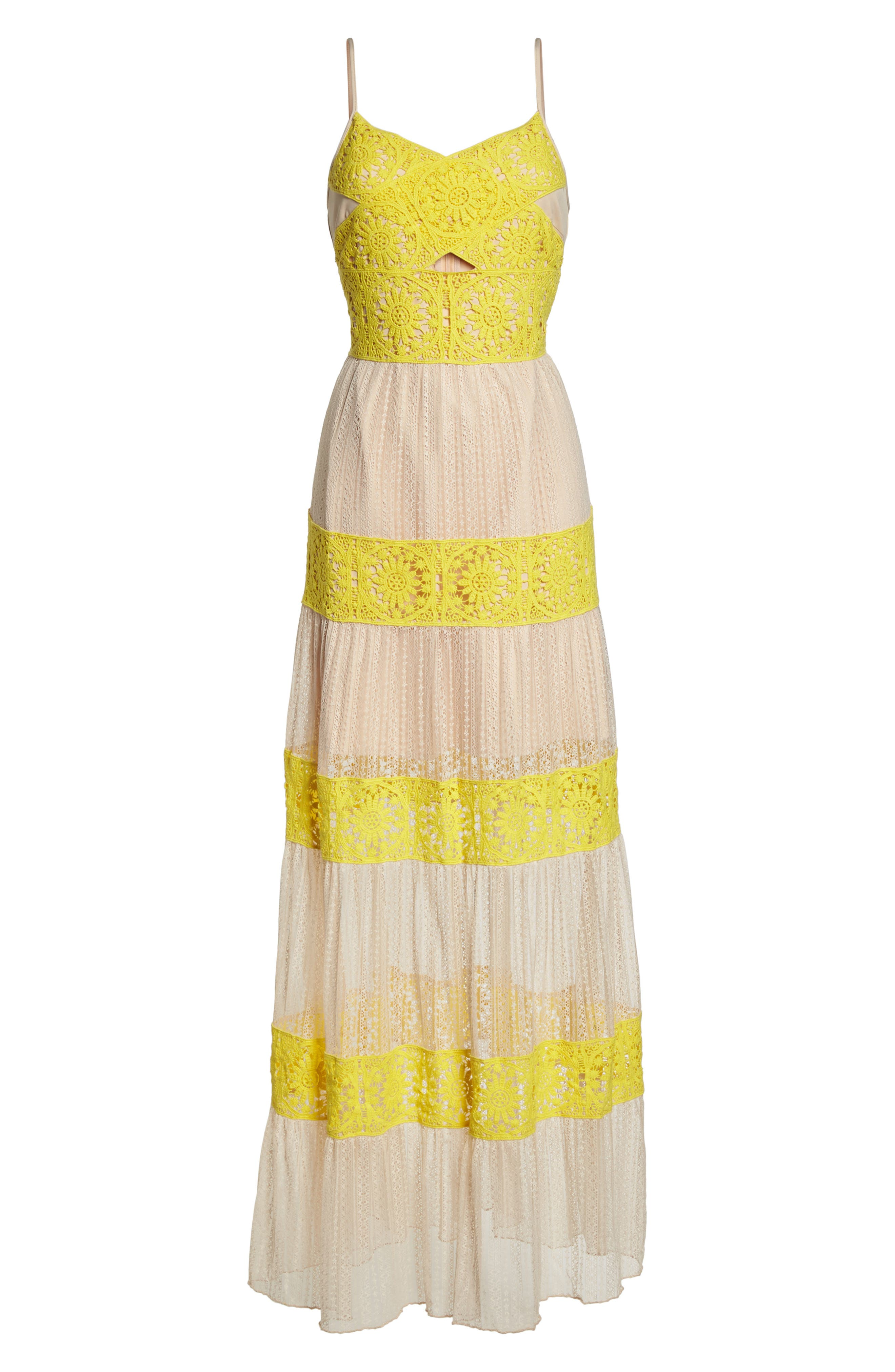 Mia Two-Tone Lace Gown,                             Alternate thumbnail 7, color,                             Yellow/ Nude