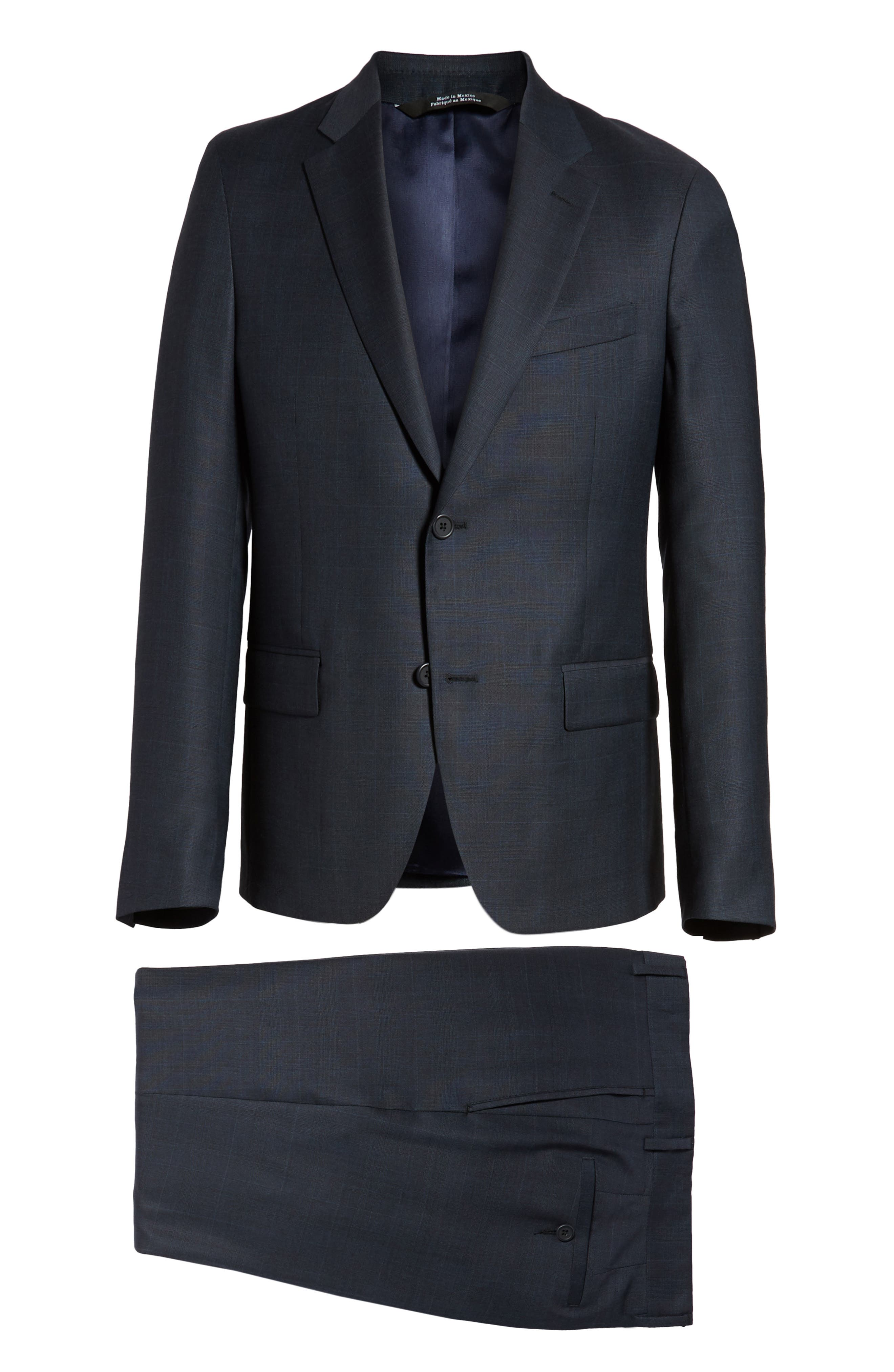 Trim Fit Plaid Wool Suit,                             Alternate thumbnail 8, color,                             Navy