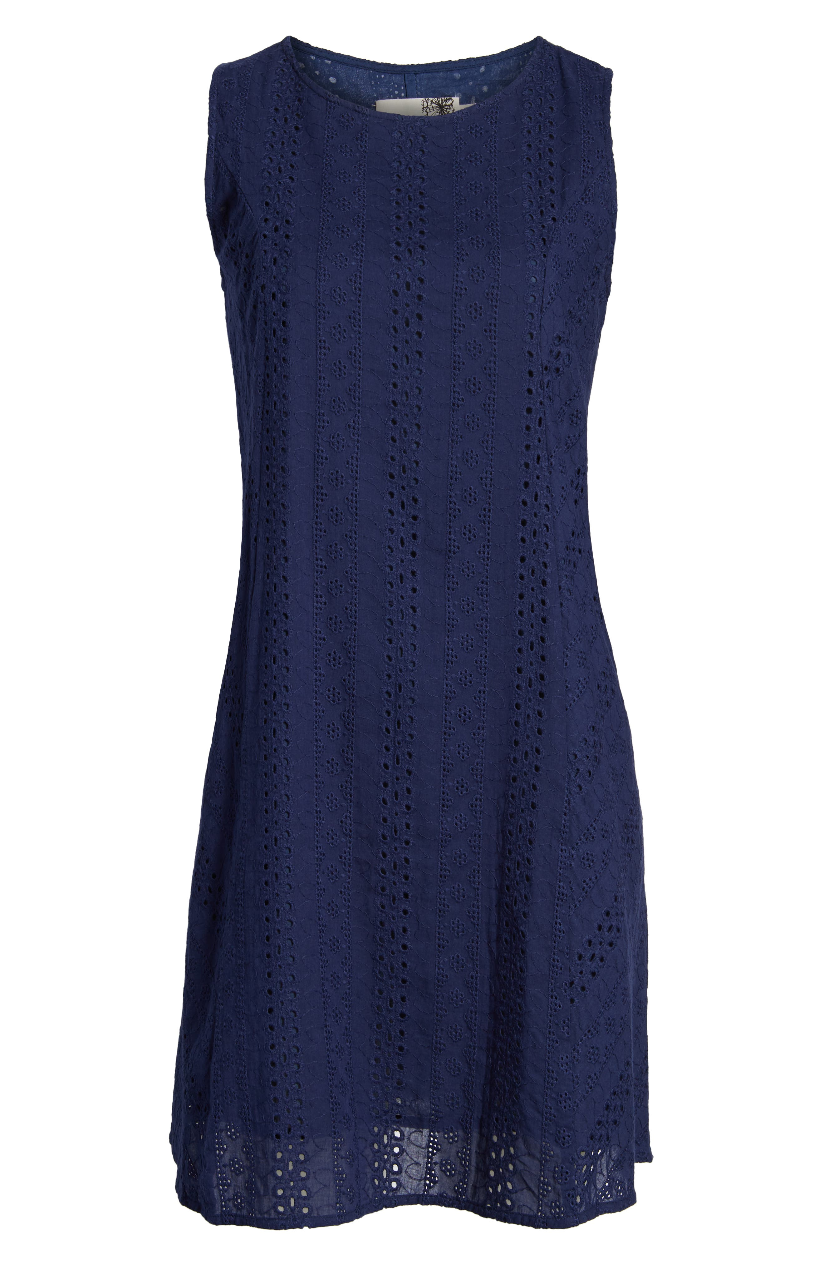Eyelet Shift Dress,                             Alternate thumbnail 6, color,                             Navy