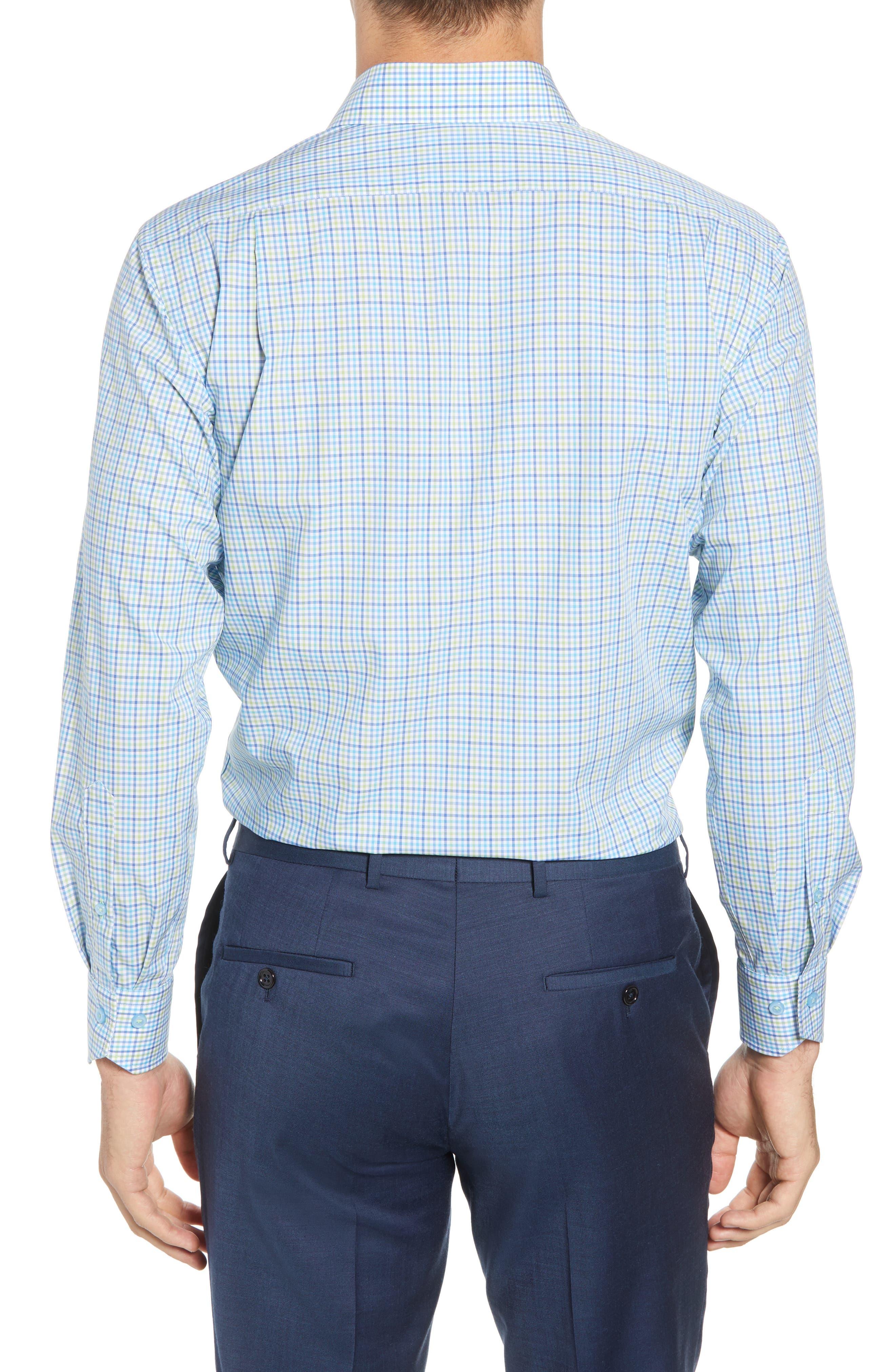 Trim Fit Check Dress Shirt,                             Alternate thumbnail 3, color,                             Blue/ Green