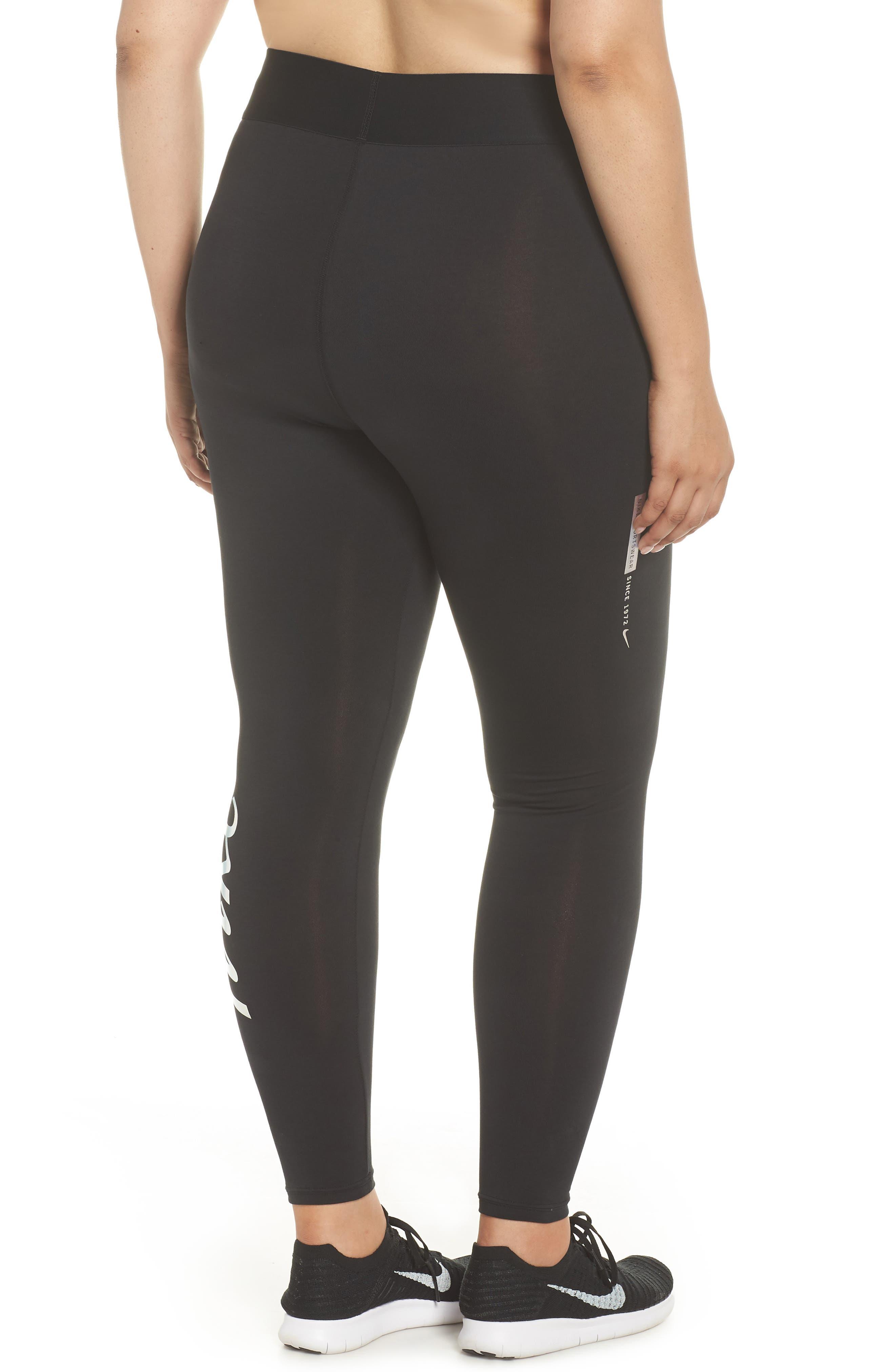 Sportswear Metallic Logo Leggings,                             Alternate thumbnail 2, color,                             Black/ Black