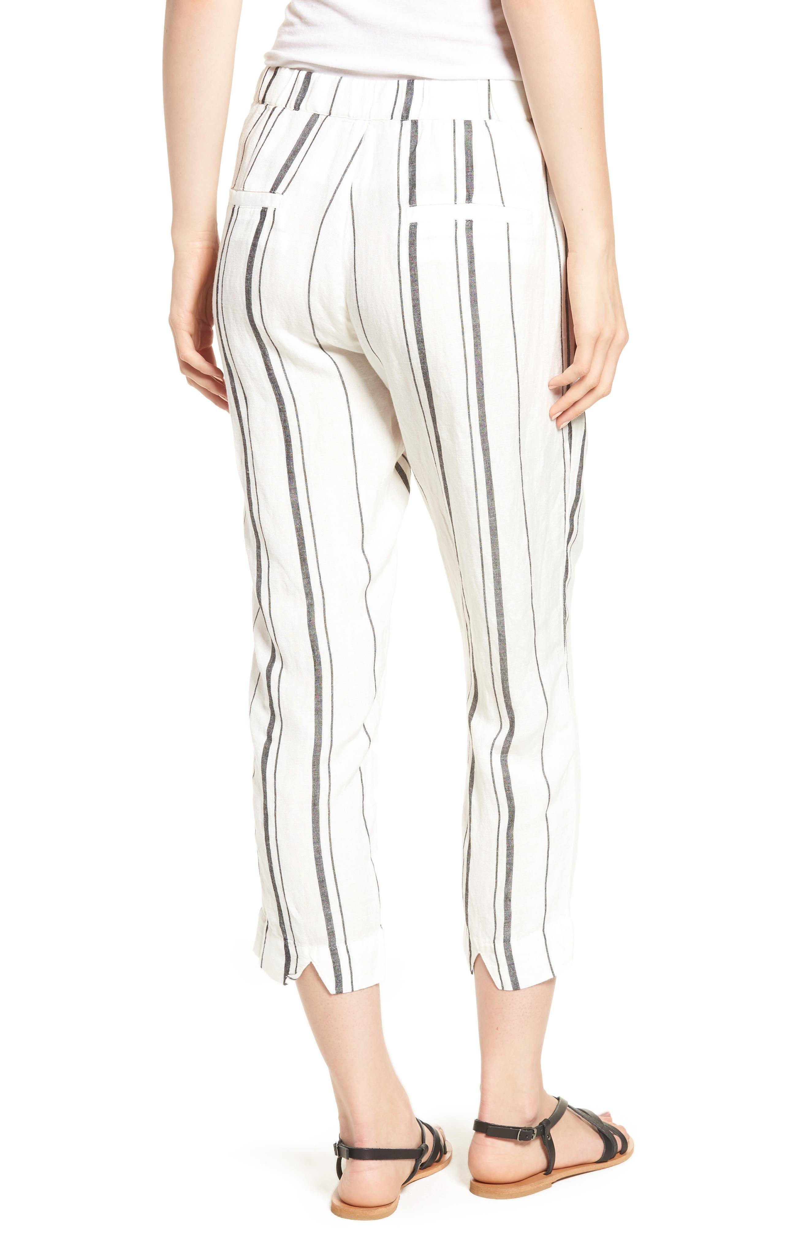 Annika Stripe Crop Pants,                             Alternate thumbnail 2, color,                             Black/ White