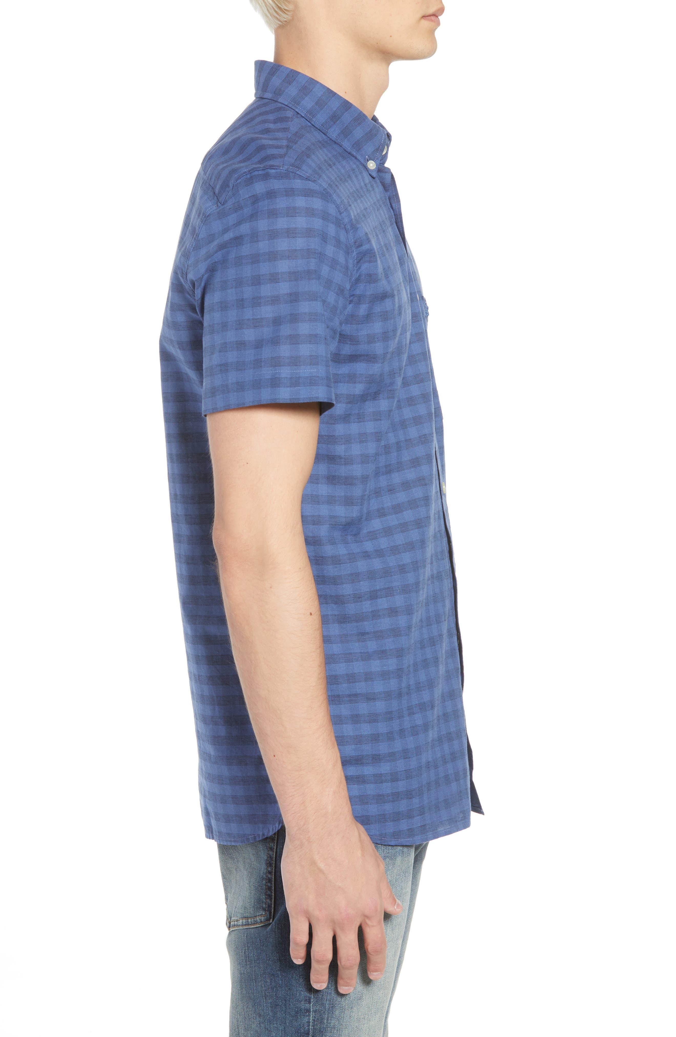 Slim Fit Check Cotton & Linen Sport Shirt,                             Alternate thumbnail 4, color,                             Marino