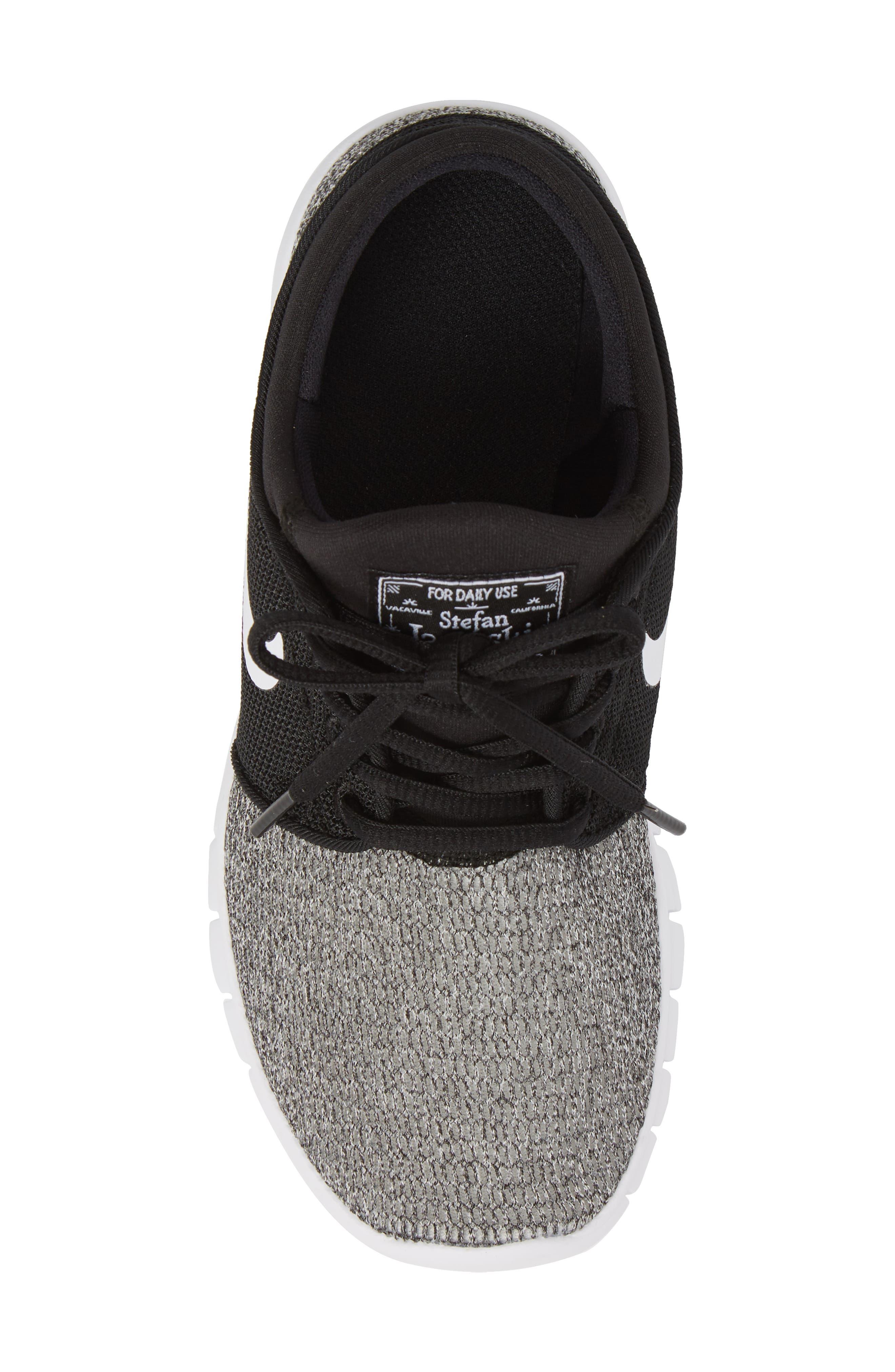 Stefan Janoski Max SB Skate Sneaker,                             Alternate thumbnail 5, color,                             Black/ White/ White