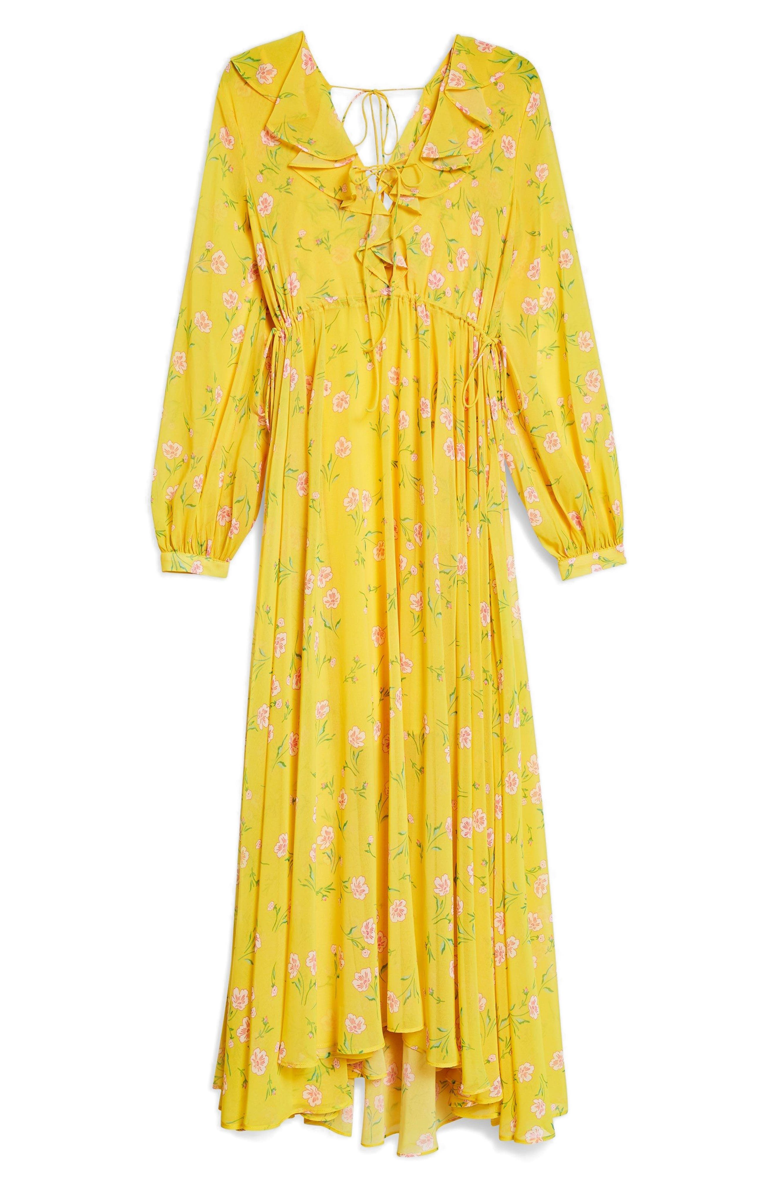 Margot Floral Maxi Dress,                             Alternate thumbnail 5, color,                             Yellow Multi
