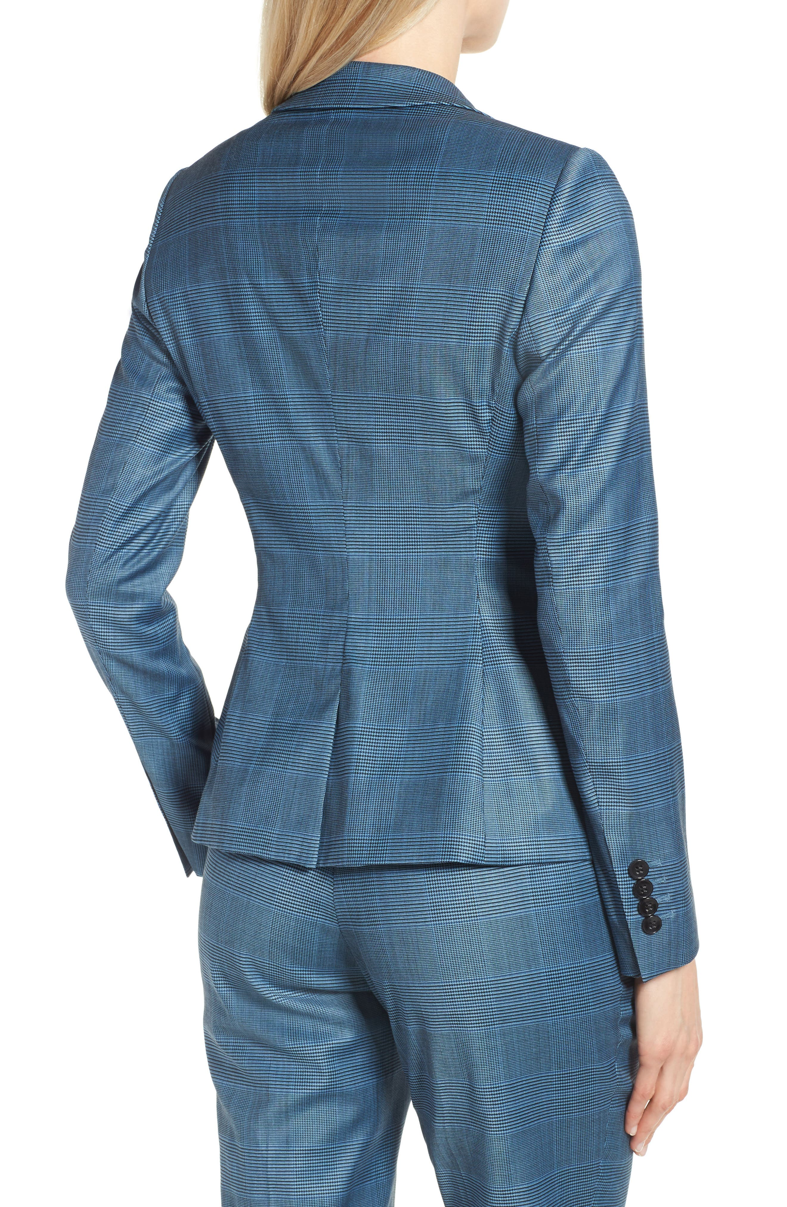 Jelaya Glencheck Double Breasted Suit Jacket,                             Alternate thumbnail 2, color,                             Sailor Blue Fantasy