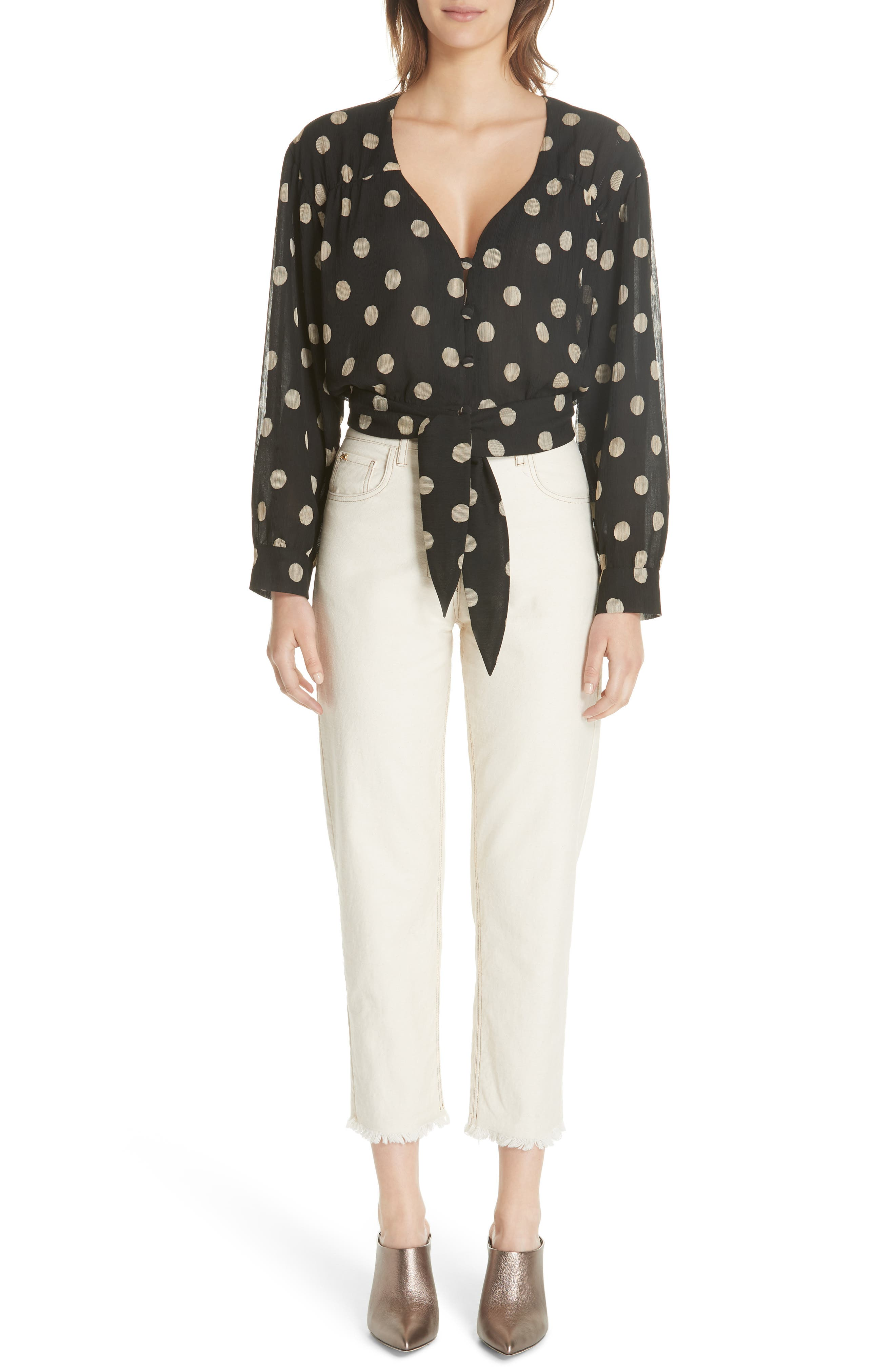 Amulet Polka Dot Tech Chiffon Blouse,                             Alternate thumbnail 7, color,                             Polka Dot