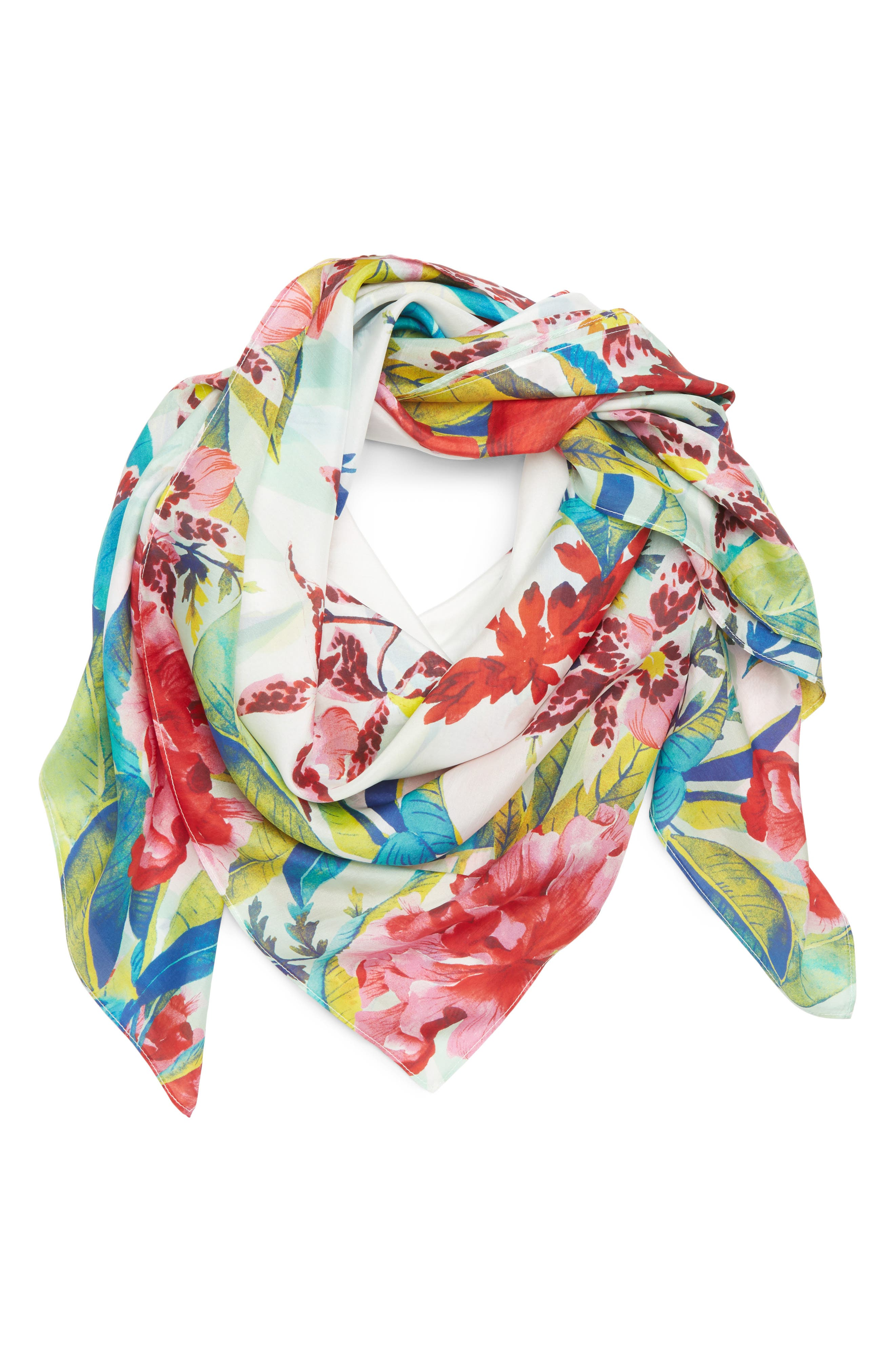 Oversized Print Square Scarf,                             Main thumbnail 1, color,                             Pink Tropical Daydream