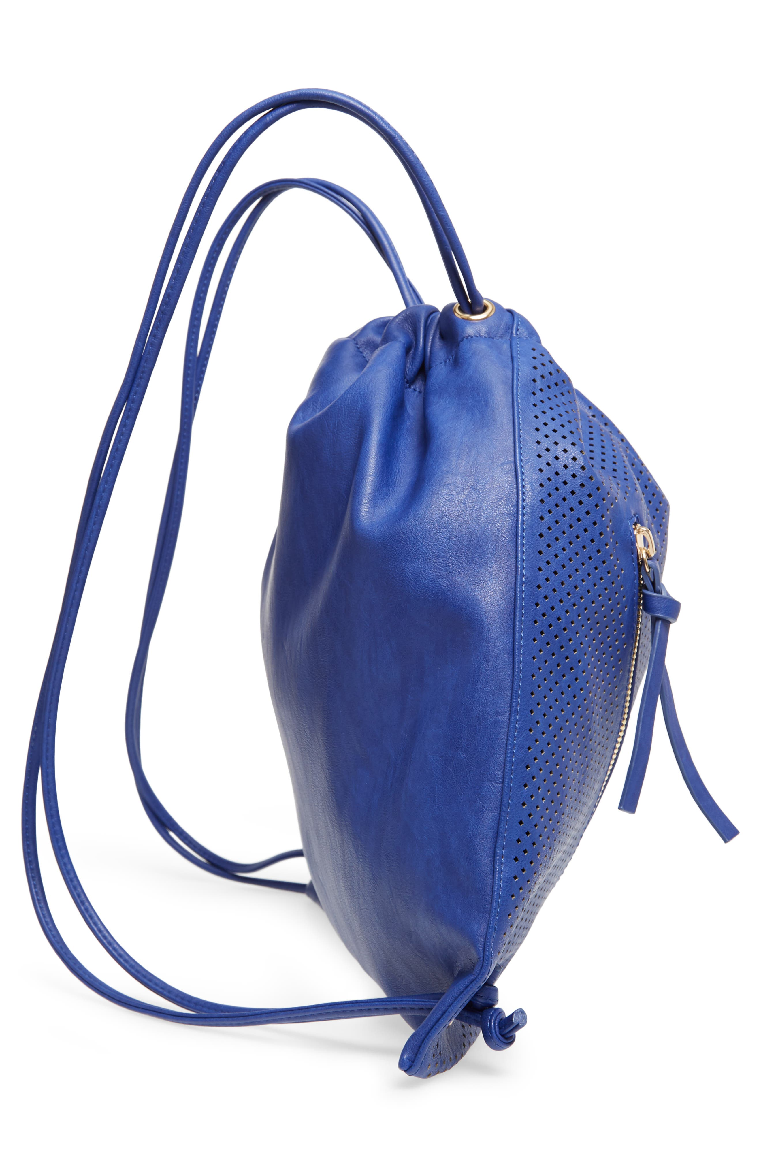 Perforated Double Zip Backpack,                             Alternate thumbnail 5, color,                             Cobalt