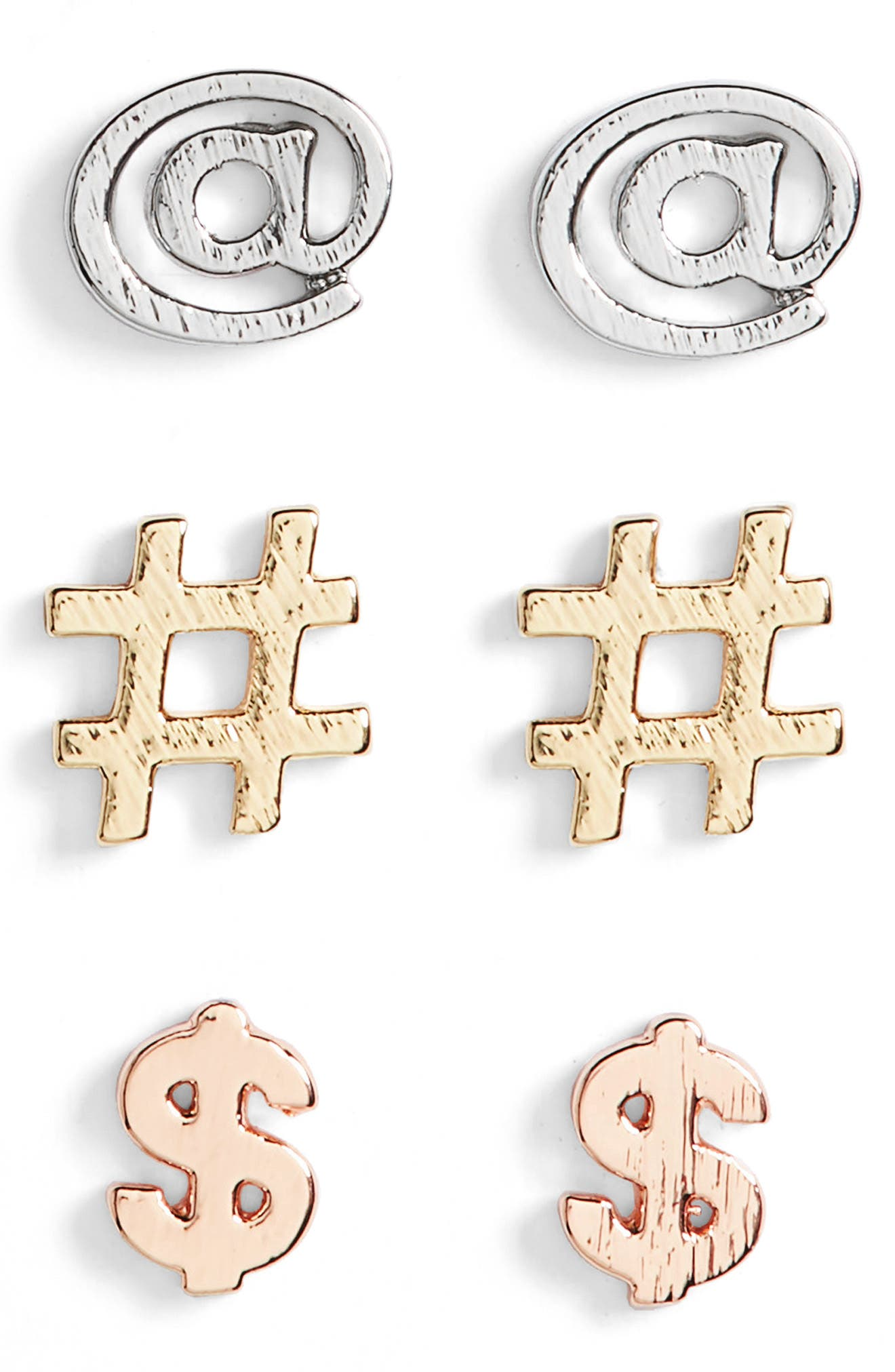 Hashtag Assorted 3-Pack Stud Earrings,                             Main thumbnail 1, color,                             Gold/ Silver/ Rose Gold