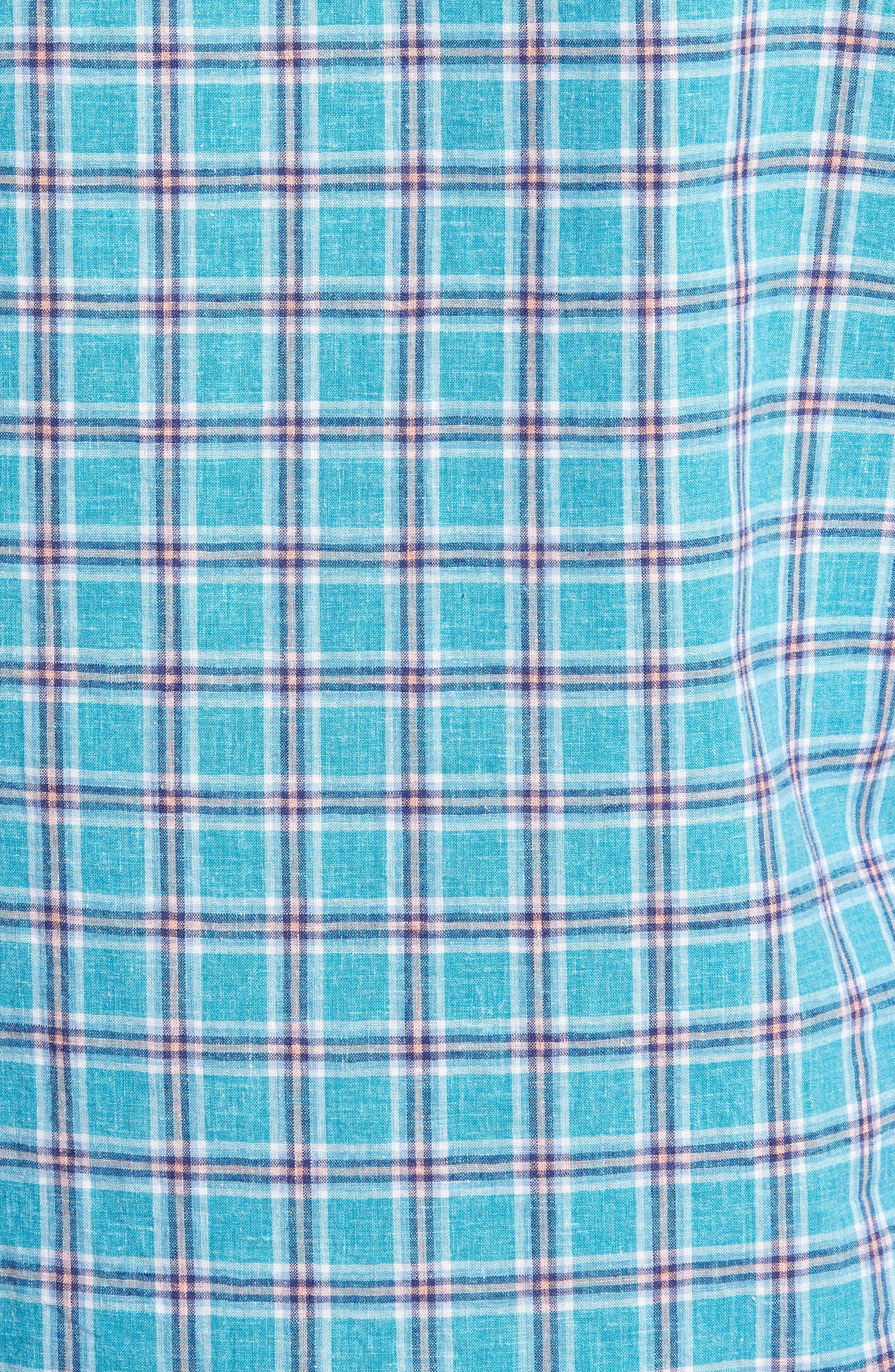 Ivy Trim Fit Plaid Cotton & Linen Sport Shirt,                             Alternate thumbnail 5, color,                             Teal Mosaic Linen Check
