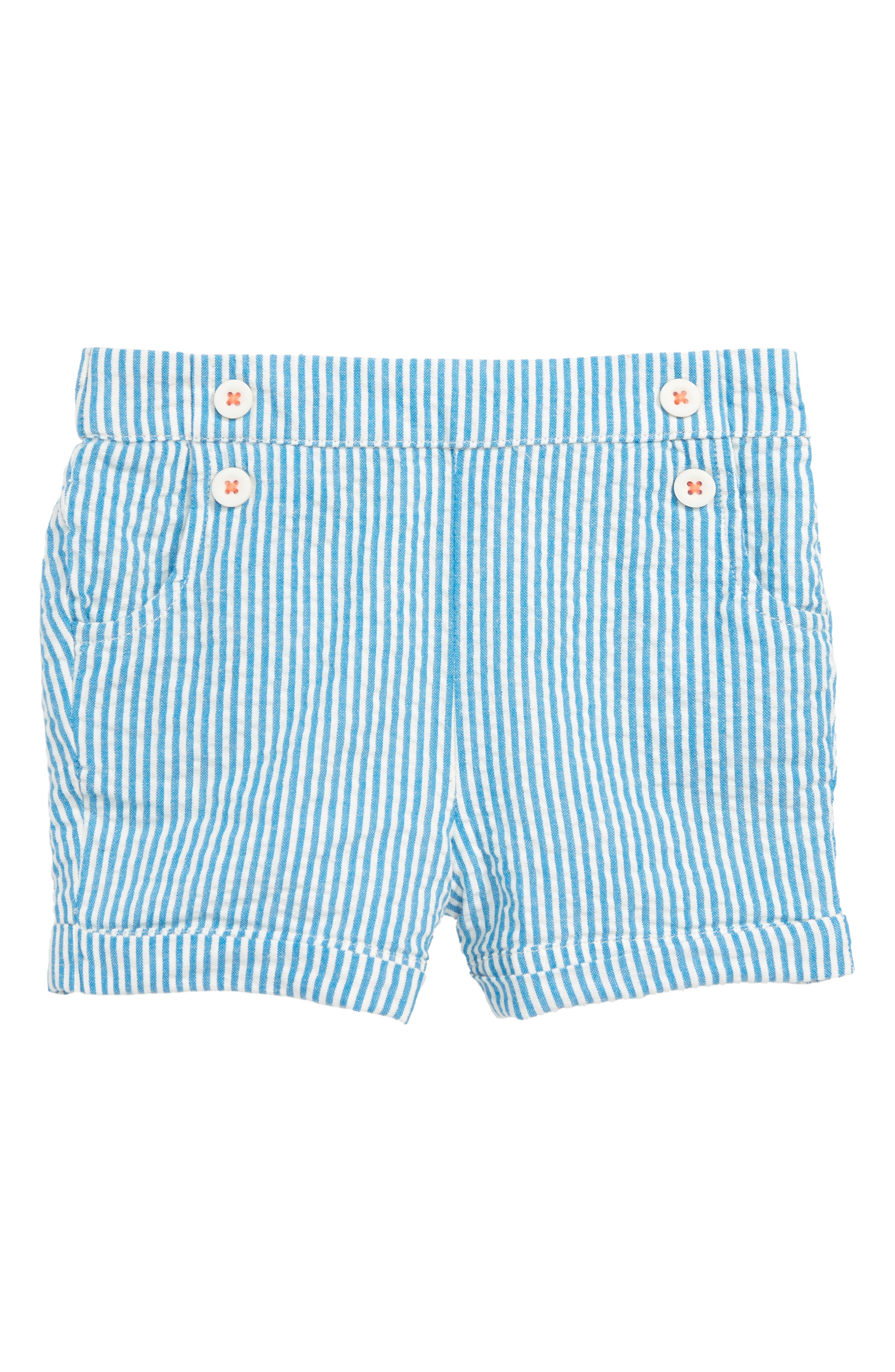 Seersucker Shorts,                             Main thumbnail 1, color,                             Fluro Blue/ Ivory Ticking