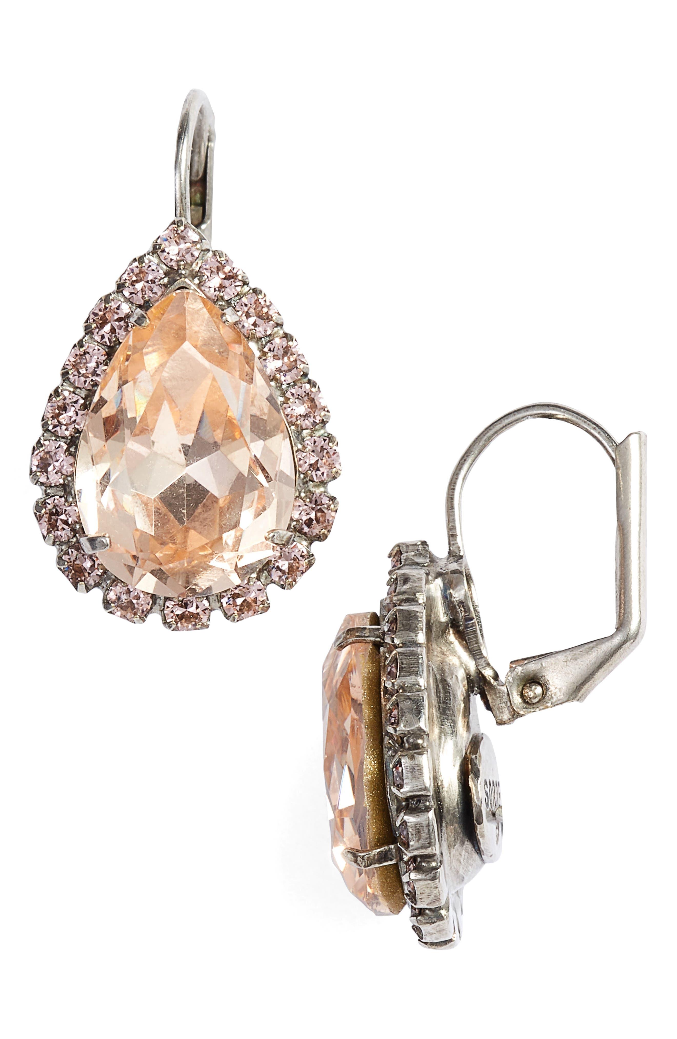 Reed Crystal Drop Earrings,                         Main,                         color, Pink
