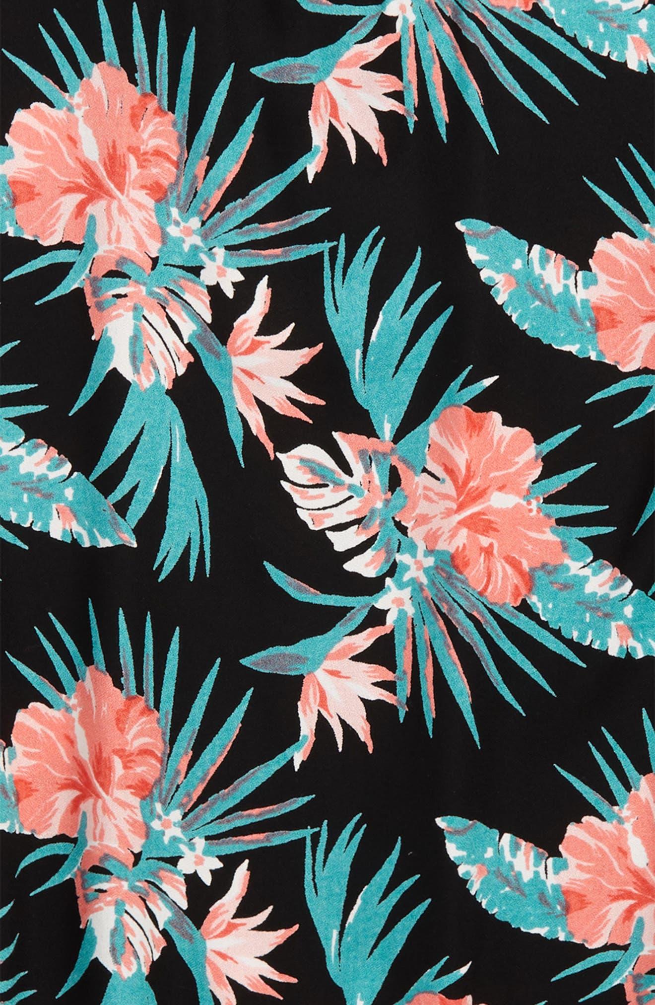 Side Slit Floral Tee,                             Alternate thumbnail 2, color,                             Black Multi Tropical