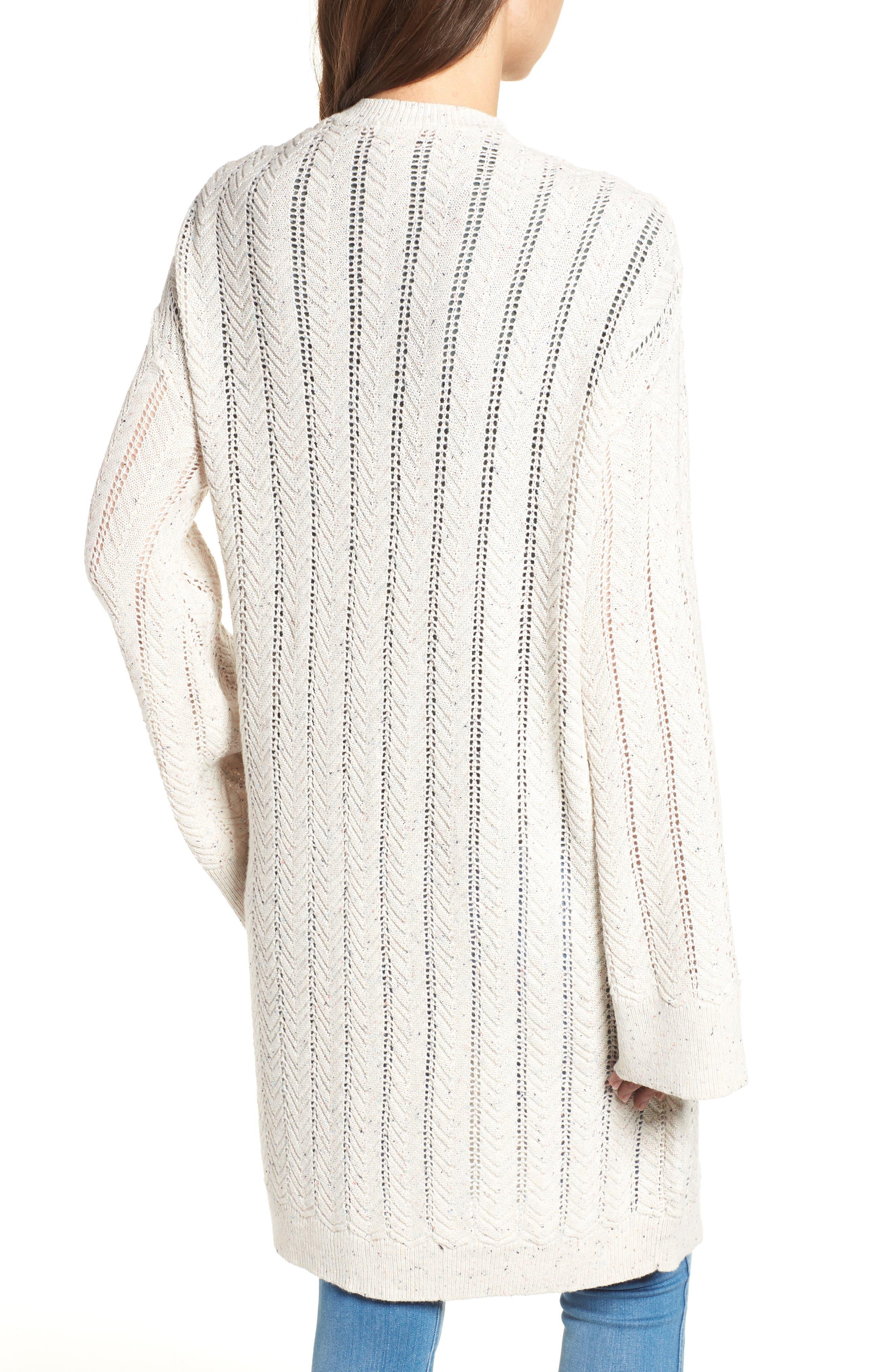 Long Tweed Herringbone Stitch Cardigan,                             Alternate thumbnail 2, color,                             Beige Oatmeal Heather